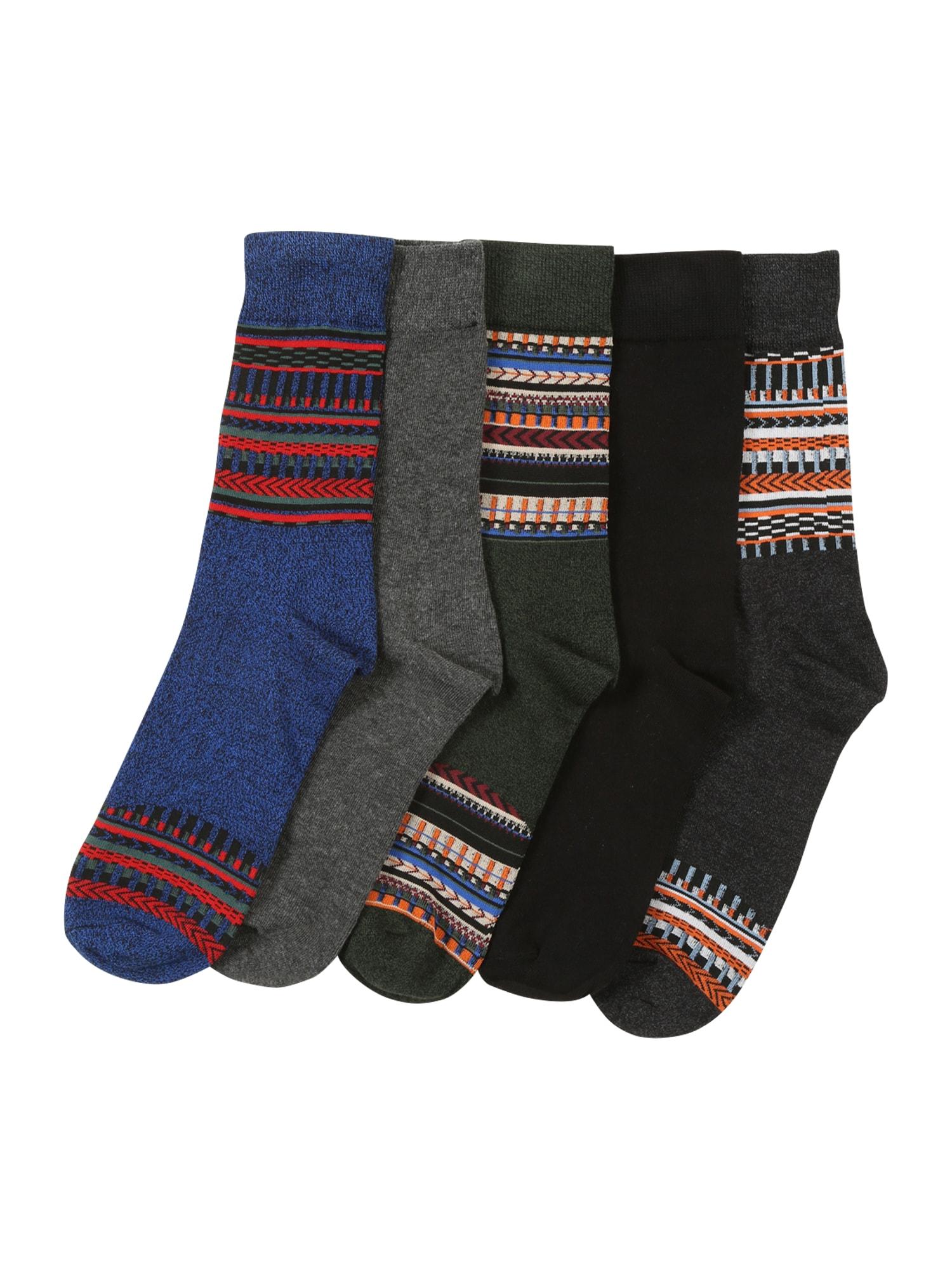 JACK & JONES Ponožky  tmavě šedá / modrý melír / černá / tmavě zelená / šedý melír