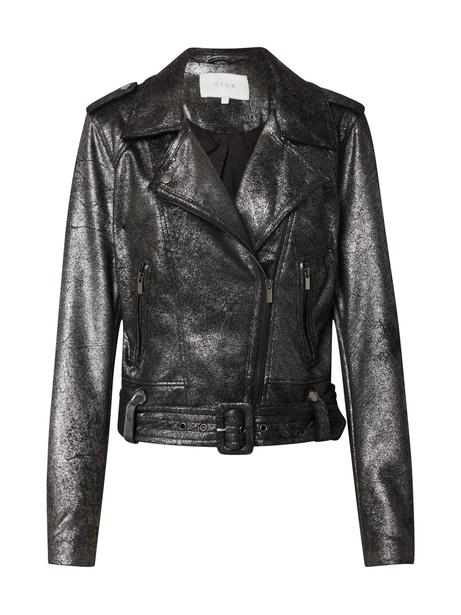 VILA Prechodná bunda  strieborná / čierna