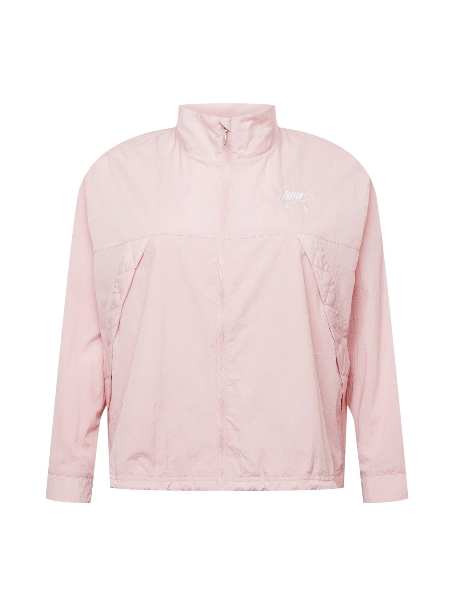 Nike Sportswear Demisezoninė striukė šviesiai rožinė / balta