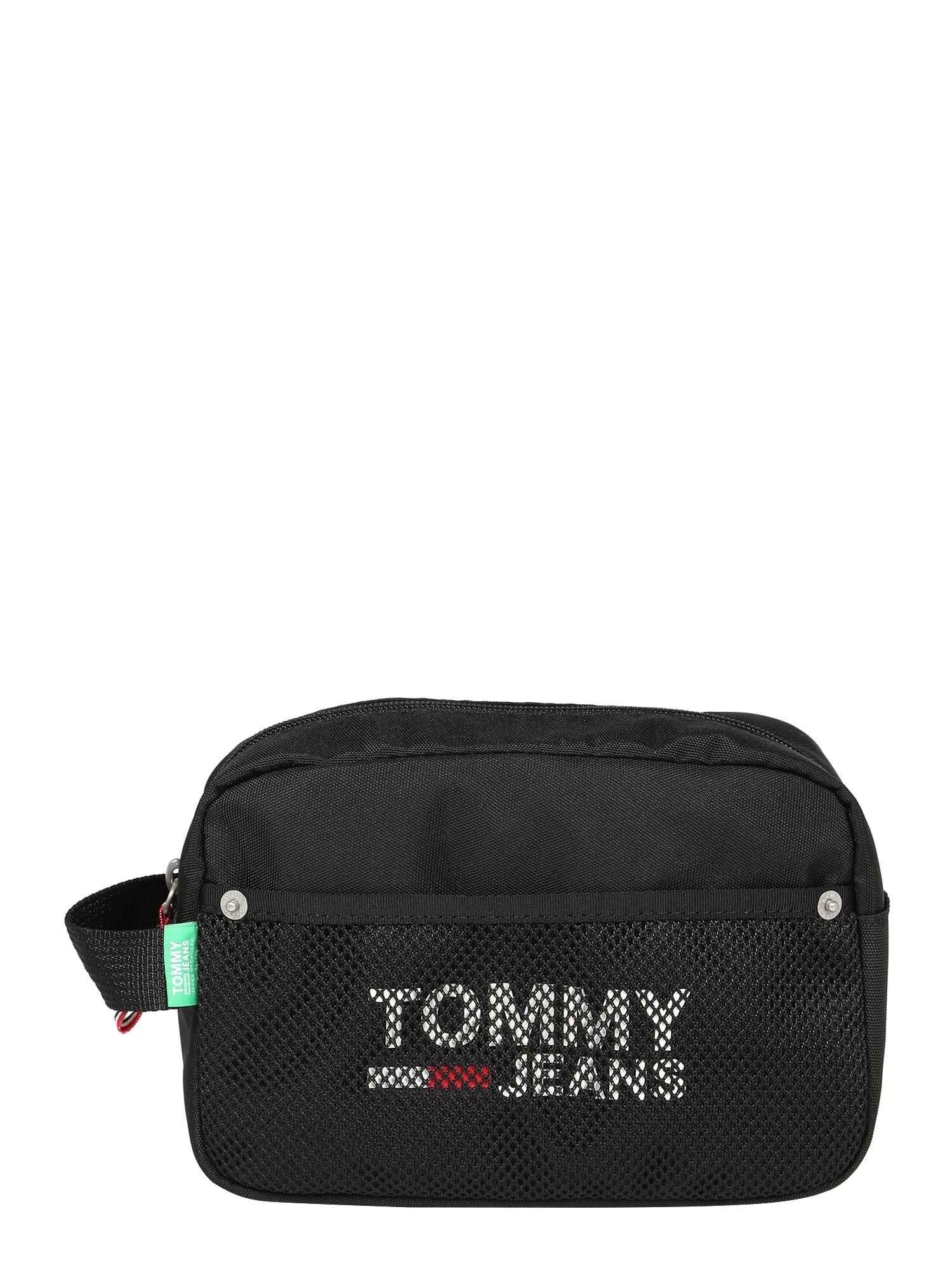 Tommy Jeans Tuoleto reikmenų krepšys 'COOL CITY' juoda / balta / raudona