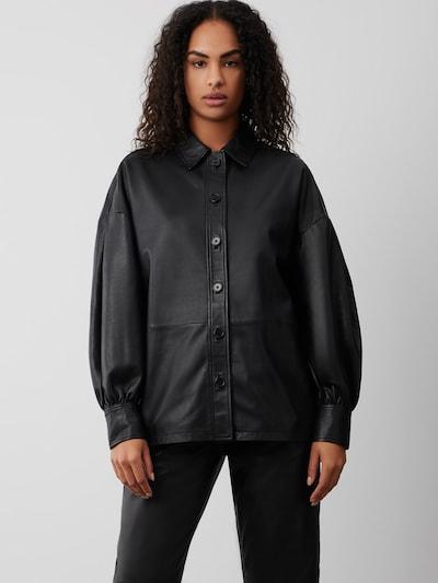 BONNIE Lederhemd mit Volumenärmeln