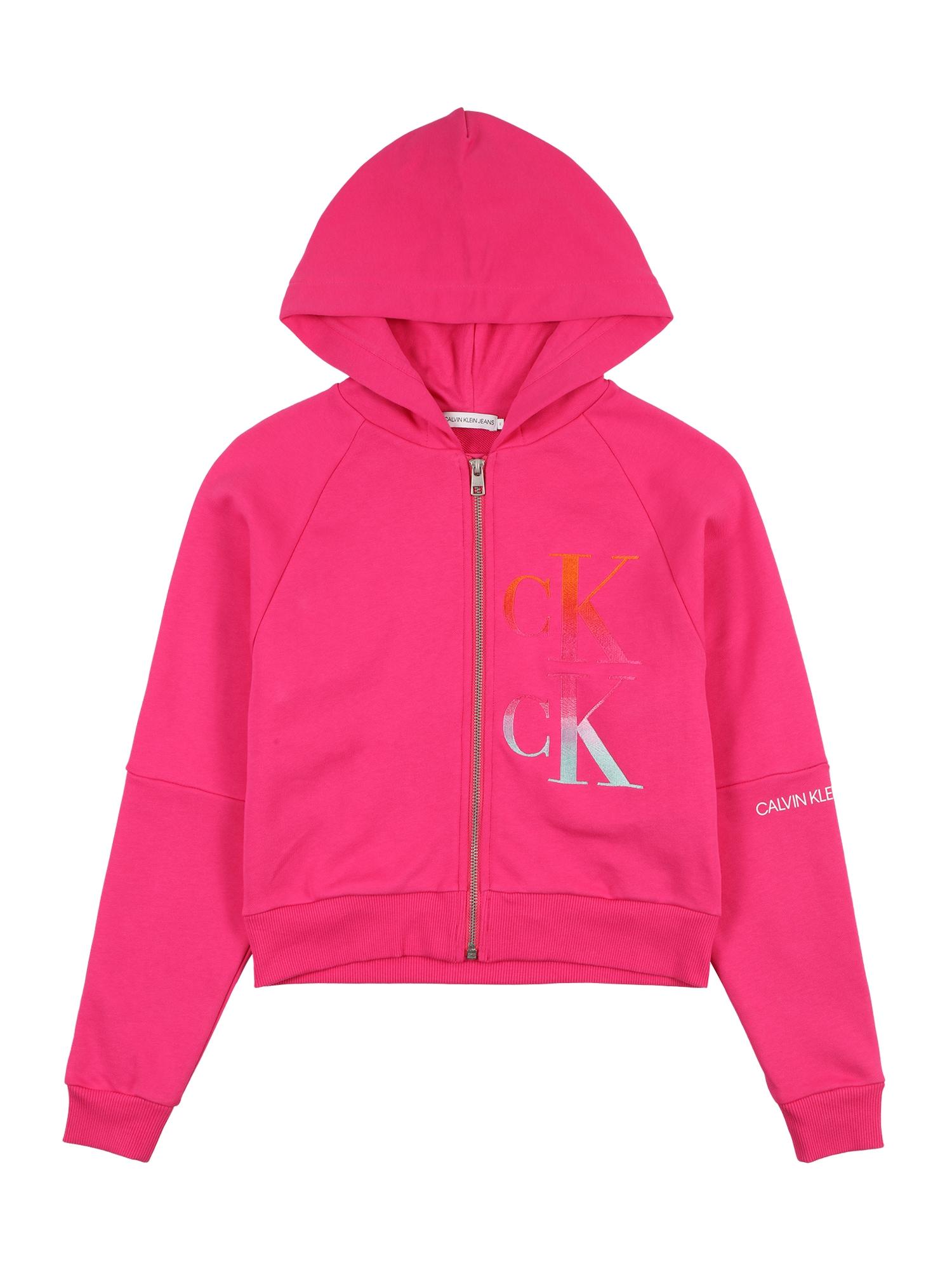Calvin Klein Jeans Megztinis be užsegimo neoninė rožinė / balta