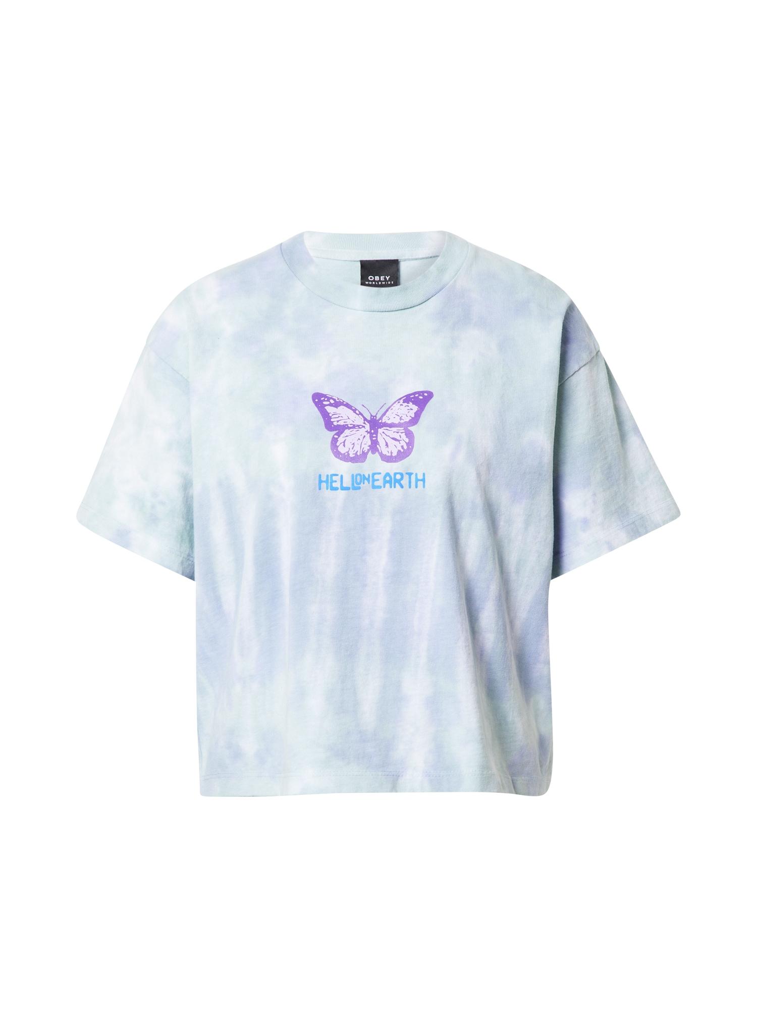 Obey Marškinėliai šviesiai mėlyna / šviesiai violetinė