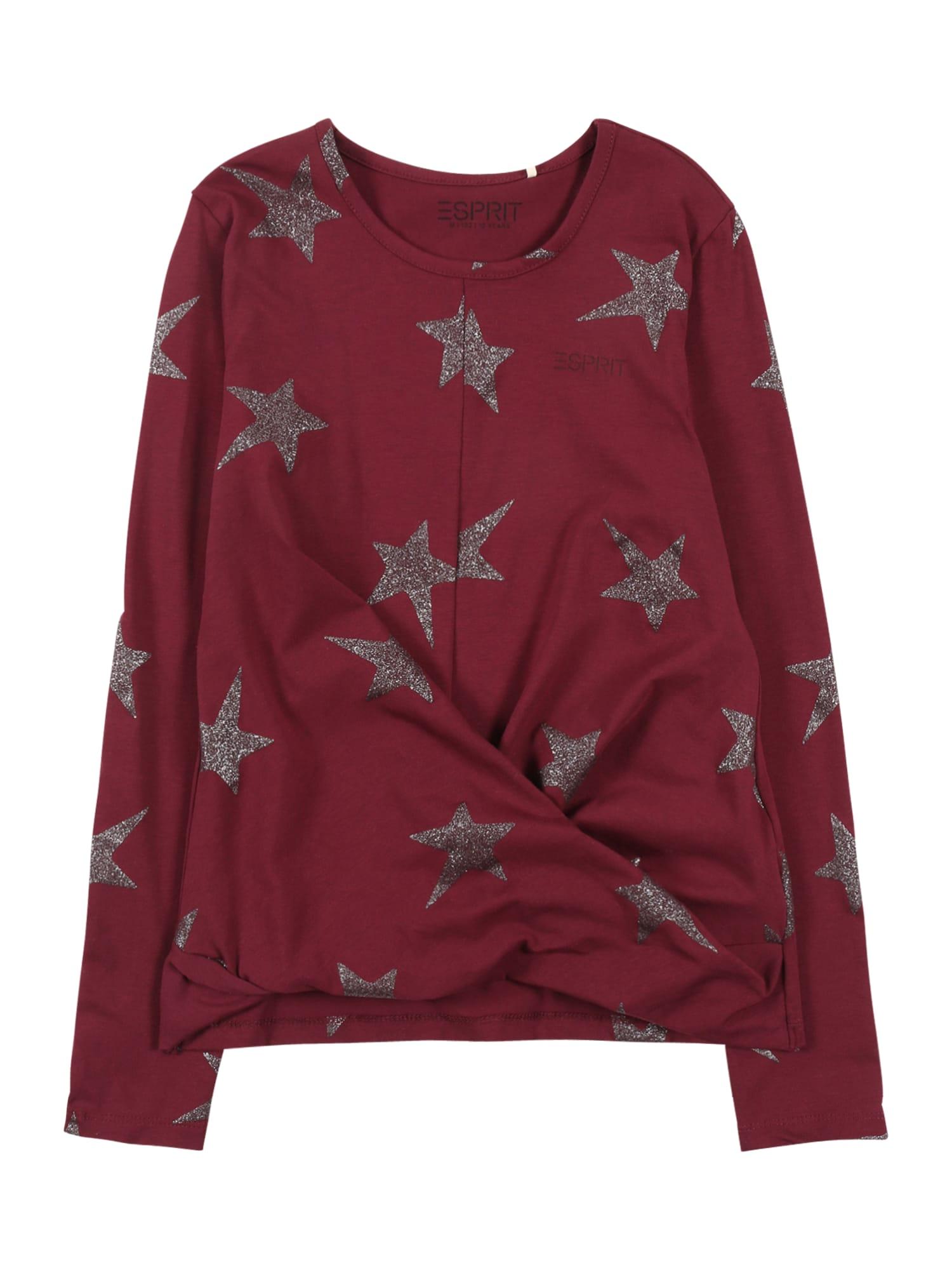 ESPRIT Marškinėliai tamsiai raudona / sidabrinė