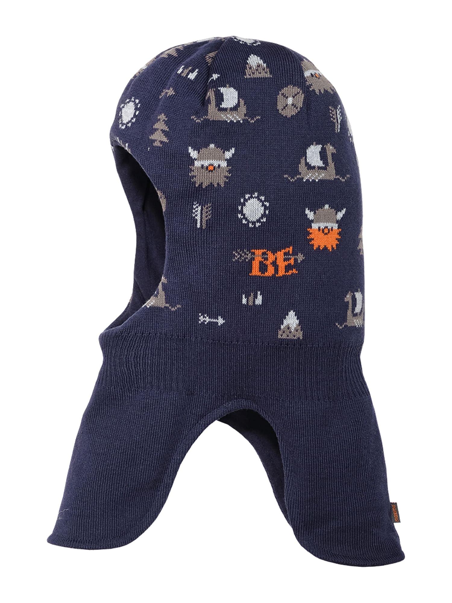 MAXIMO Megzta kepurė tamsiai mėlyna / tamsiai oranžinė / rusvai pilka / balta