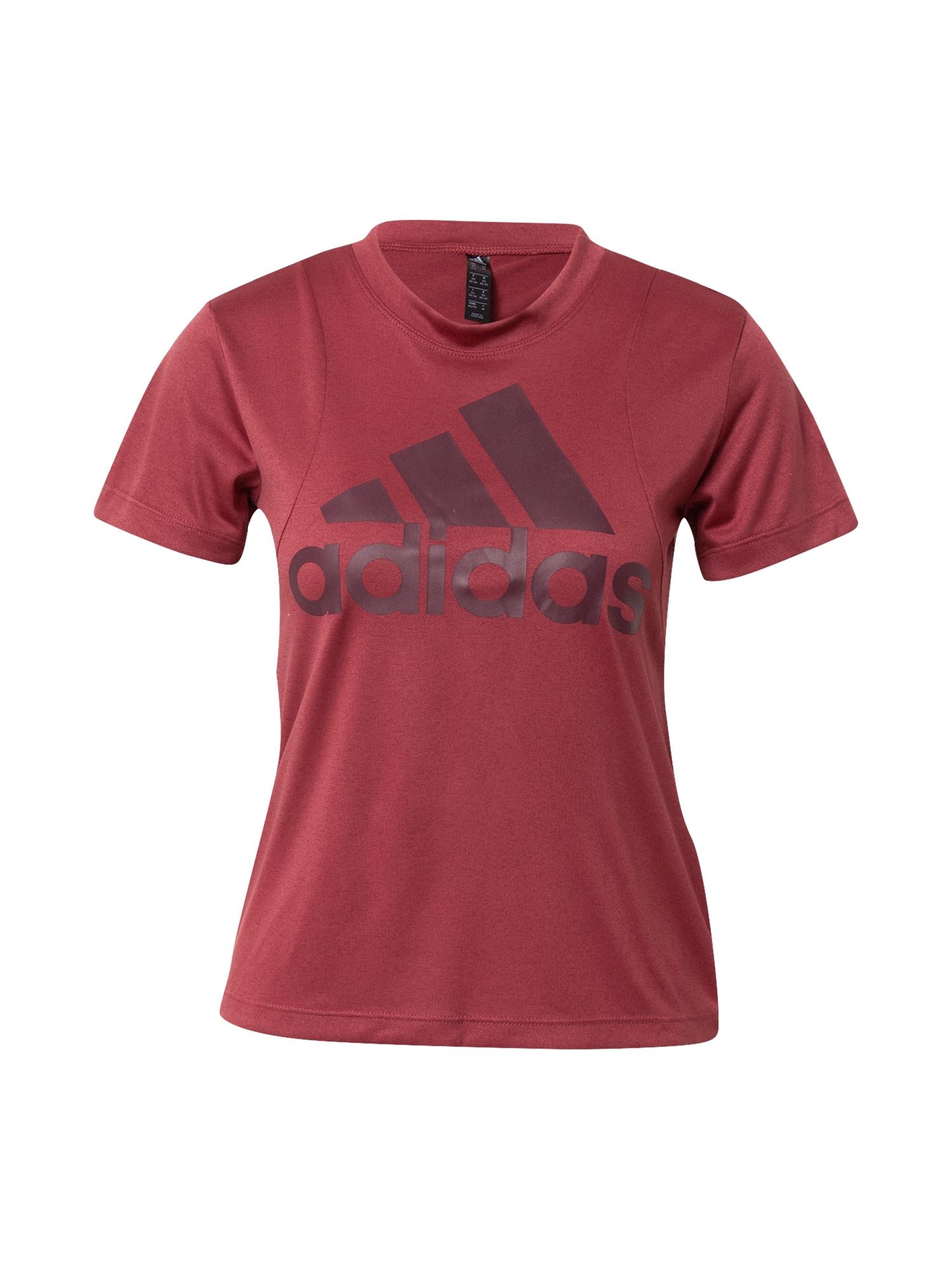 ADIDAS PERFORMANCE Sportiniai marškinėliai tamsiai raudona / baklažano spalva