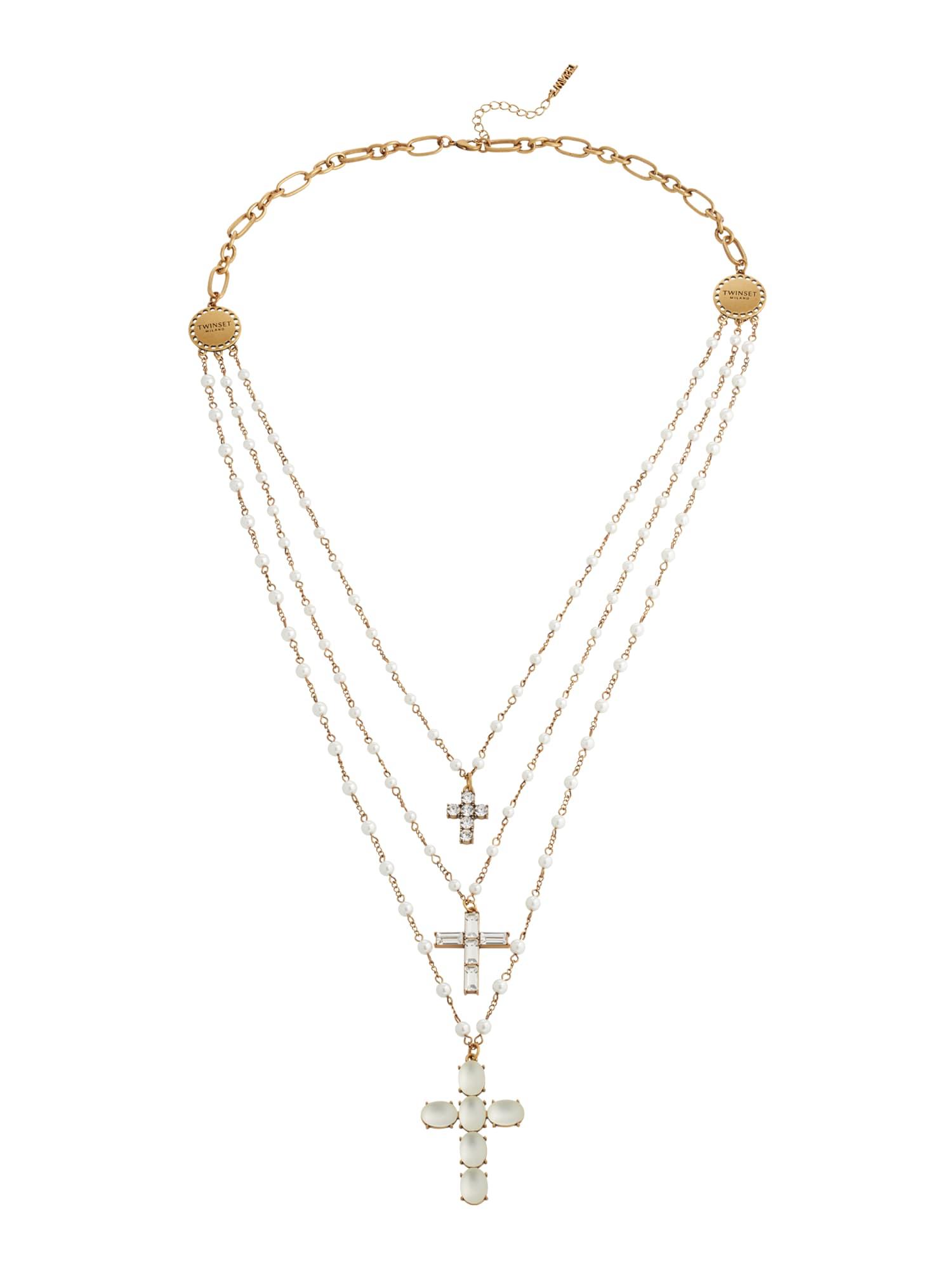 Twinset Grandinėlė auksas / skaidri spalva / perlų balta