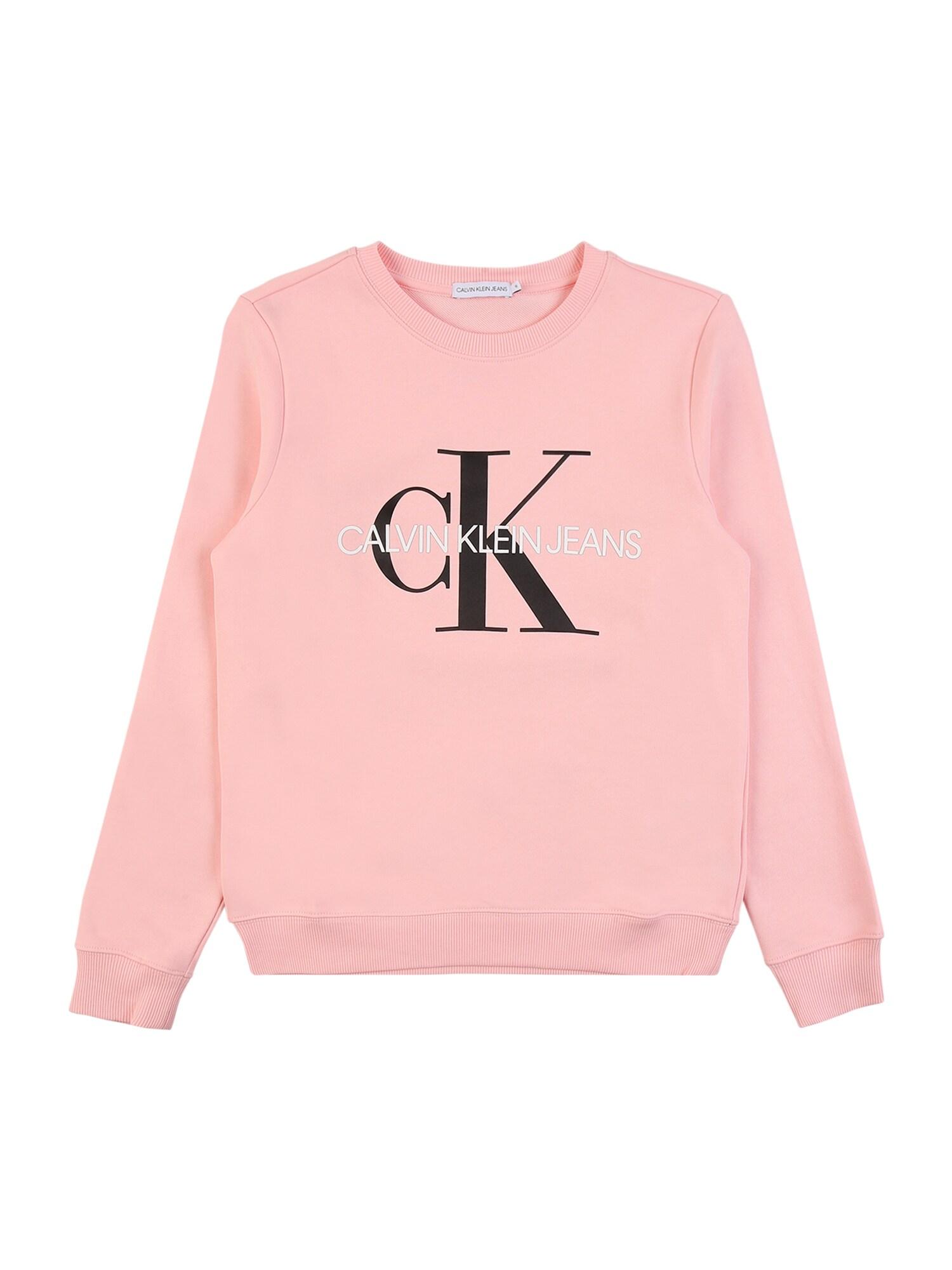 Calvin Klein Jeans Megztinis be užsegimo rožių spalva / juoda / balta