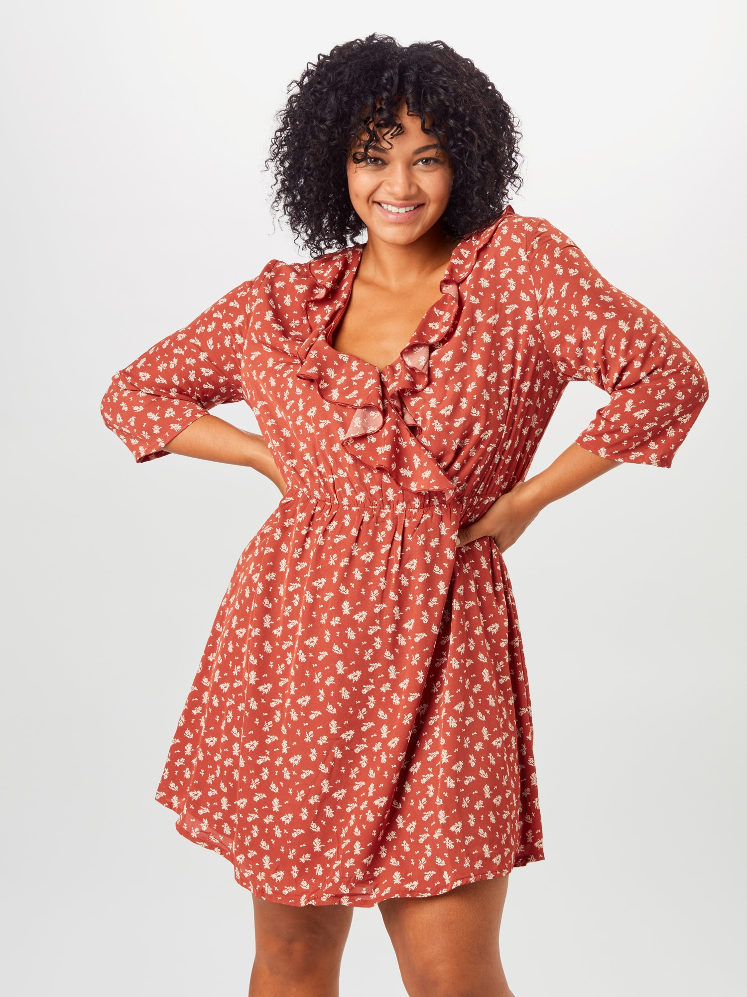 ABOUT YOU Curvy Skjortklänning 'Theres'  vit / orangeröd