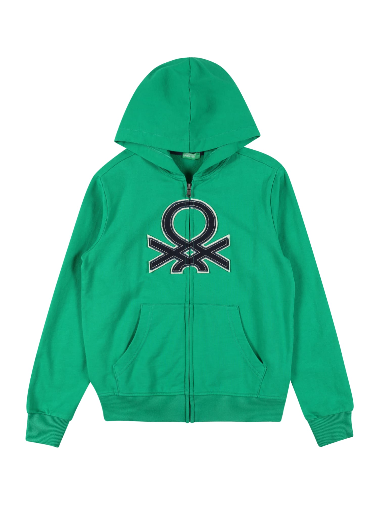 UNITED COLORS OF BENETTON Džemperis žalia / tamsiai mėlyna / balta