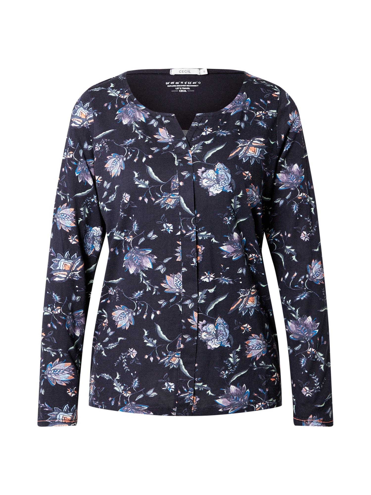 CECIL Marškinėliai tamsiai mėlyna / mišrios spalvos
