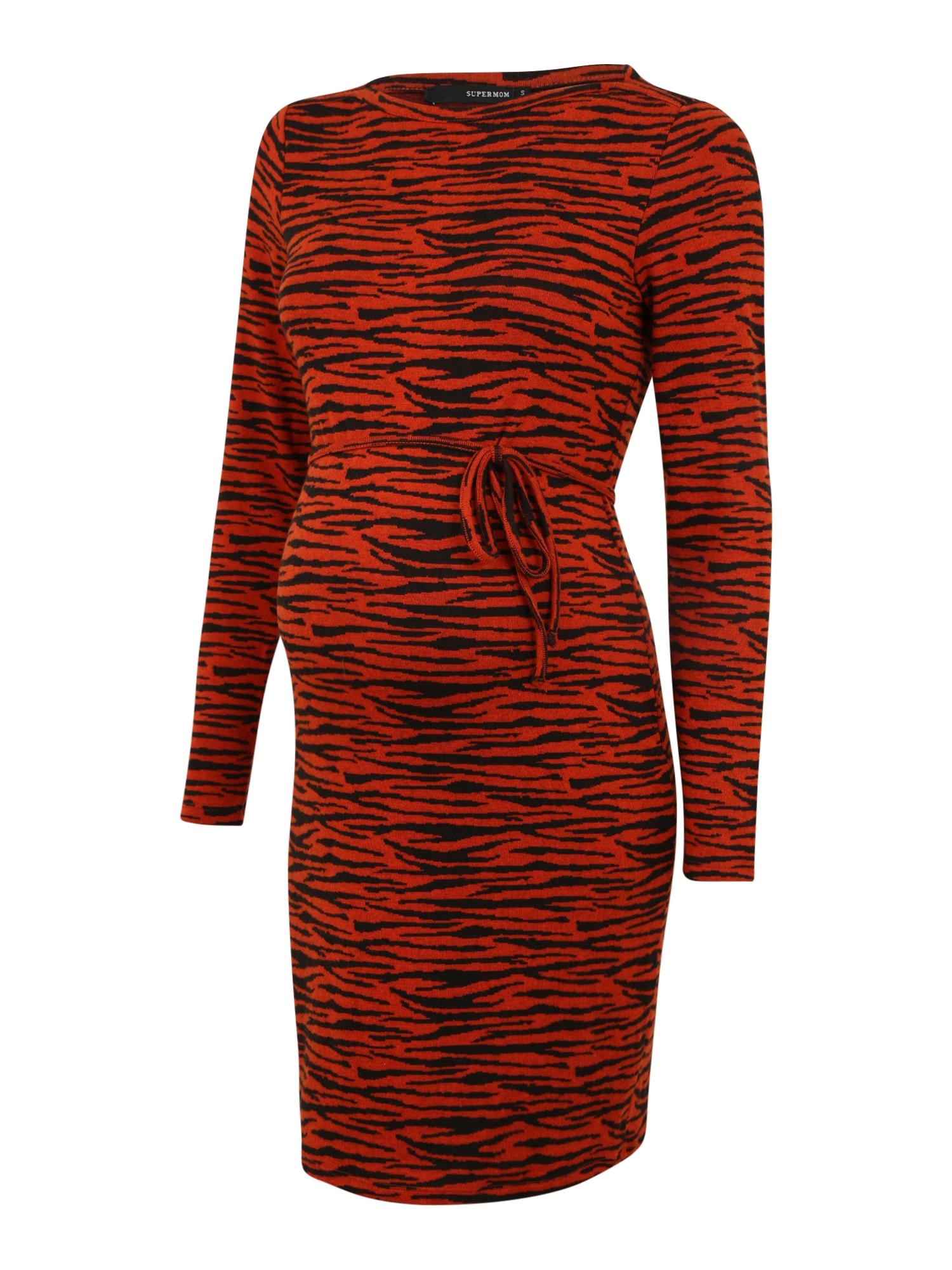 Supermom Suknelė juoda / oranžinė-raudona