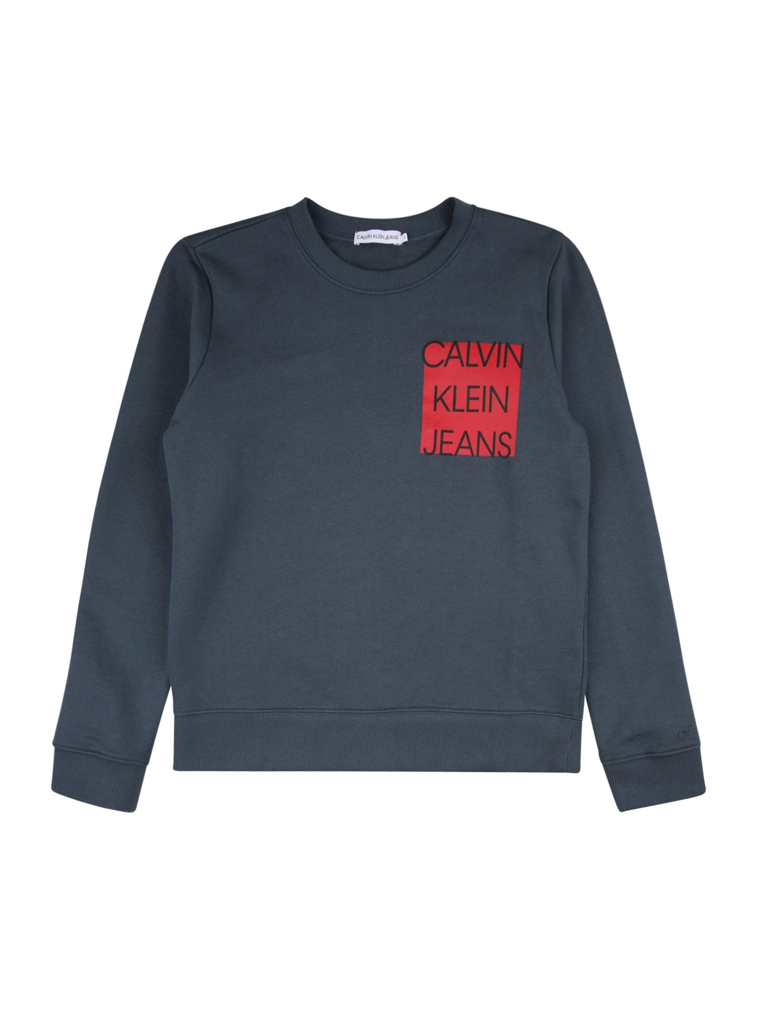 Calvin Klein Mikina  modrá / ohnivá červená / černá