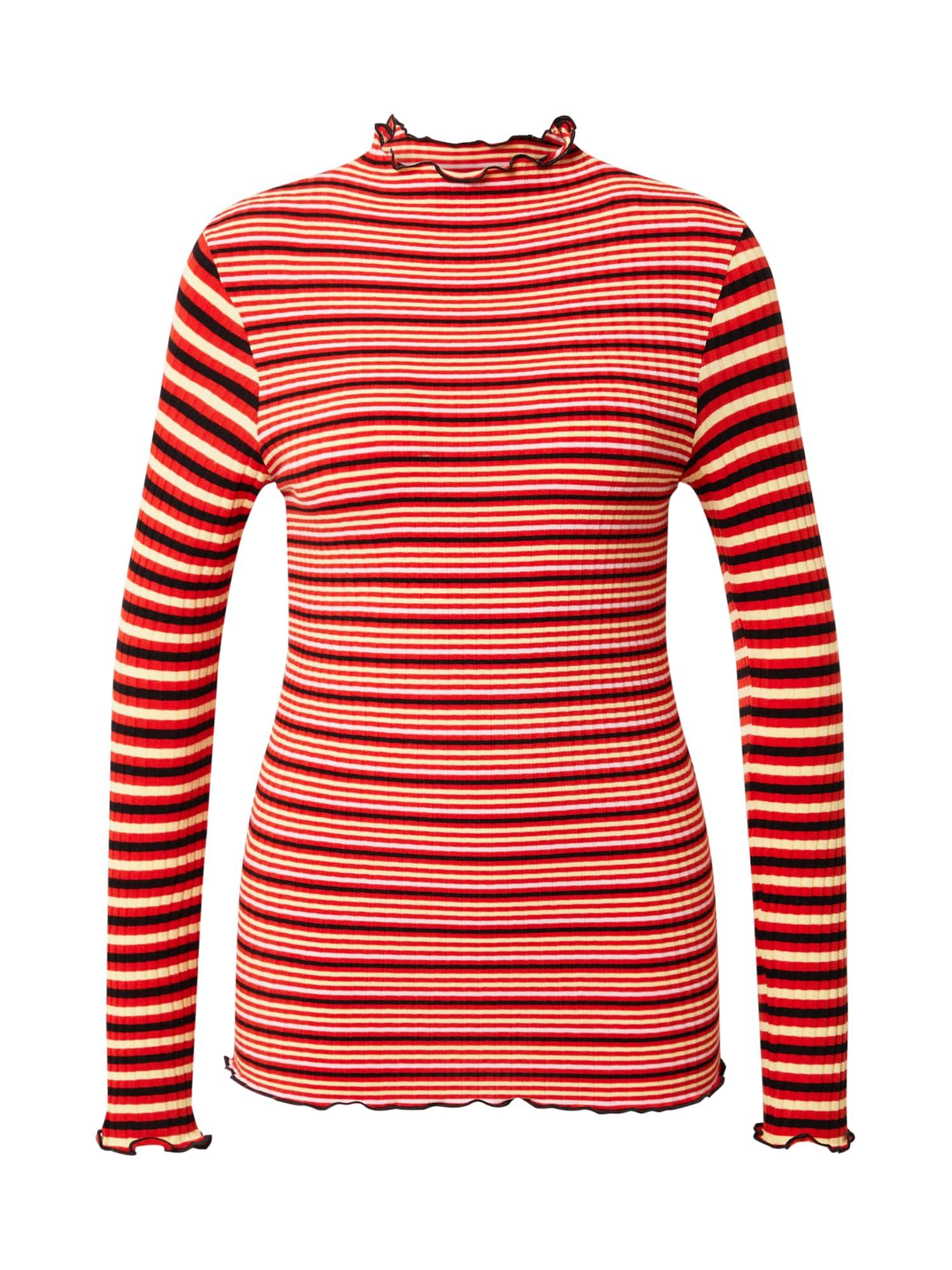 MADS NORGAARD COPENHAGEN Marškinėliai balta / kraujo spalva / juoda / smėlio spalva
