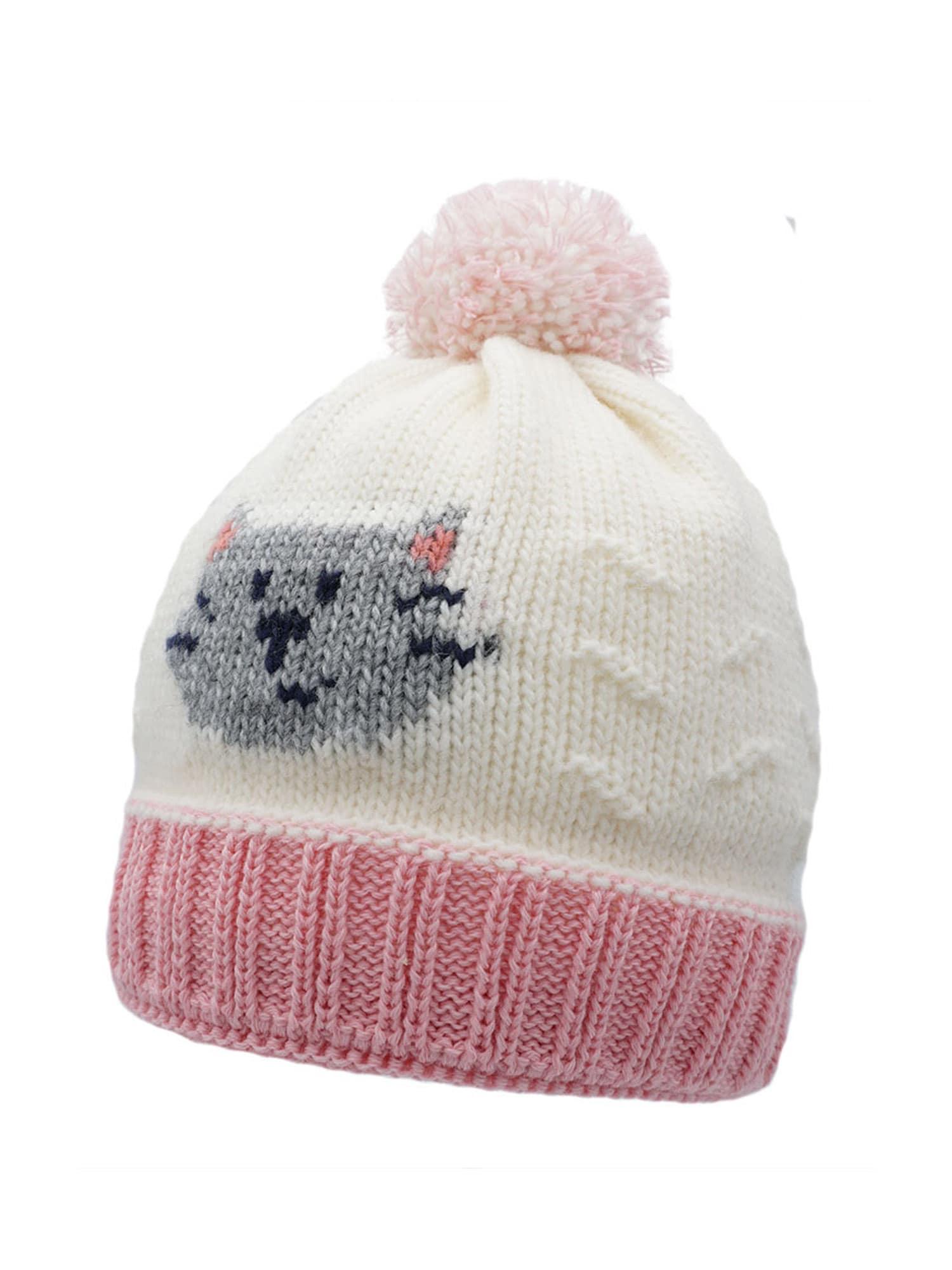 MAXIMO Megzta kepurė vilnos balta / šviesiai rožinė / pilka