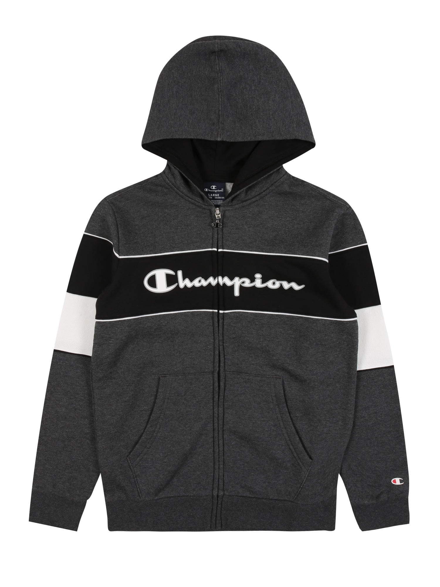 Champion Authentic Athletic Apparel Džemperis balta / tamsiai pilka / juoda