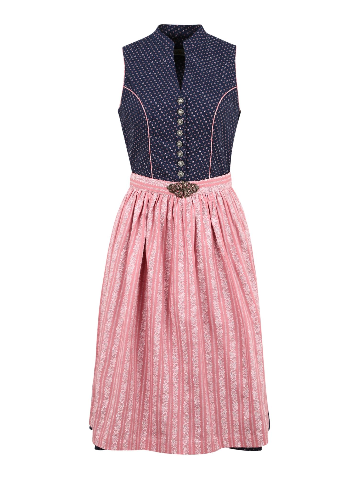 ALMSACH Dirndlis tamsiai mėlyna / tamsiai rožinė / balta
