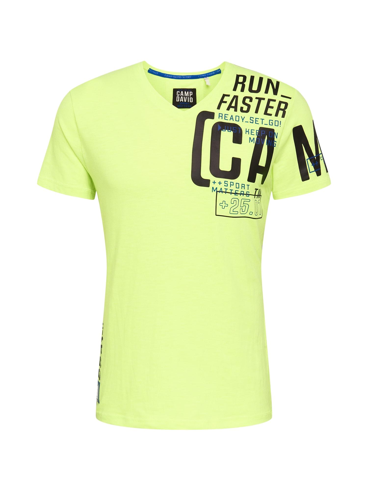 CAMP DAVID Marškinėliai neoninė geltona / juoda