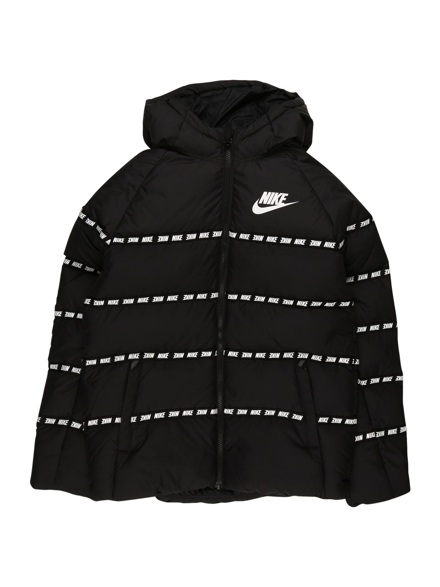 Nike Sportswear Zimní bunda  černá / bílá