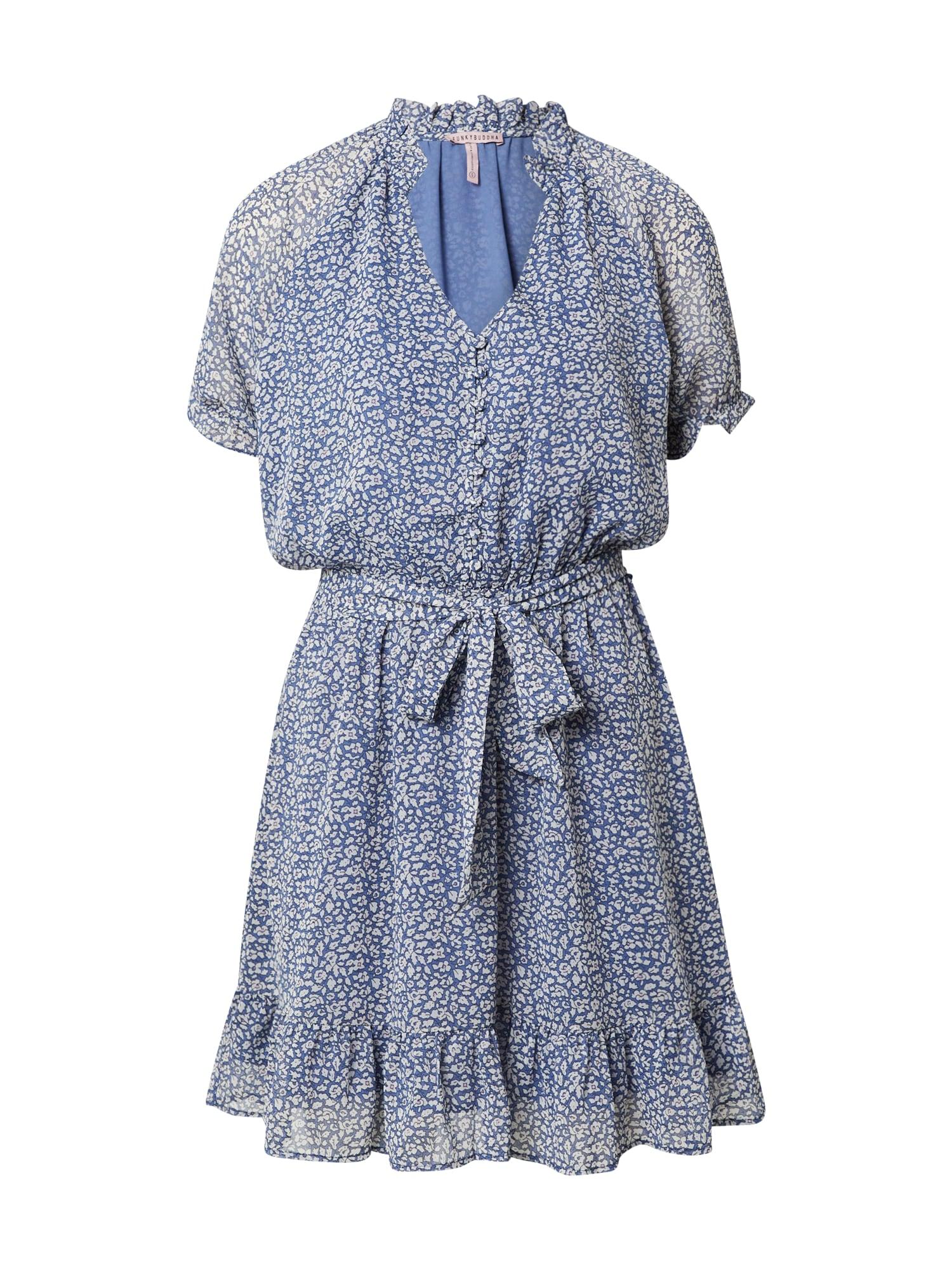 Funky Buddha Palaidinės tipo suknelė mėlyna dūmų spalva / juoda / balta