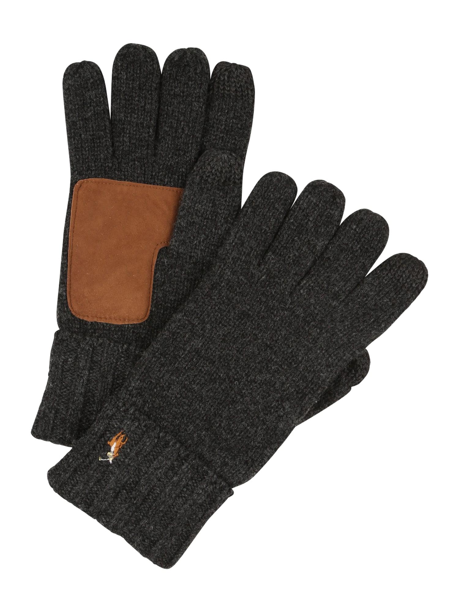 POLO RALPH LAUREN Prstové rukavice  hnědá / tmavě šedá