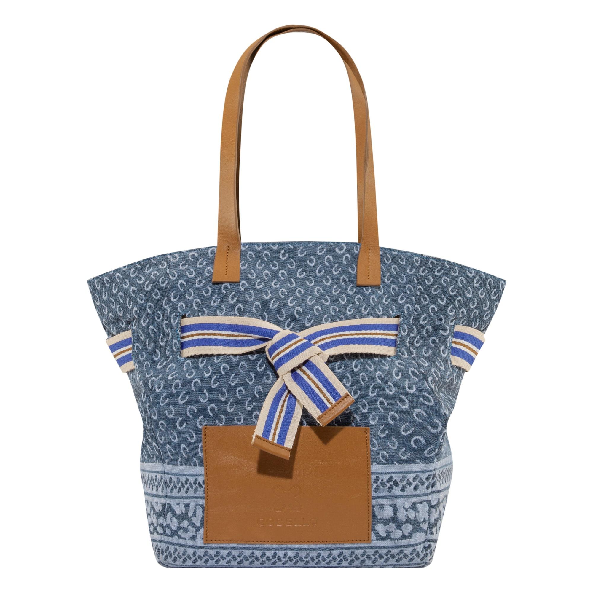 CODELLO Pirkinių krepšys šviesiai mėlyna / melsvai pilka / karamelės