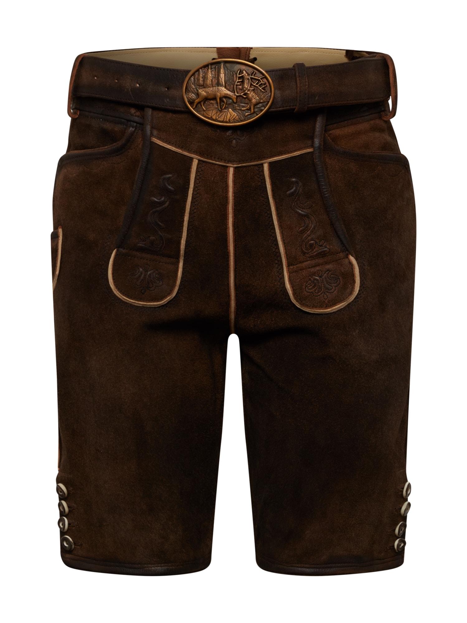 ALMSACH Kelnės su tradiciniais raštais ruda