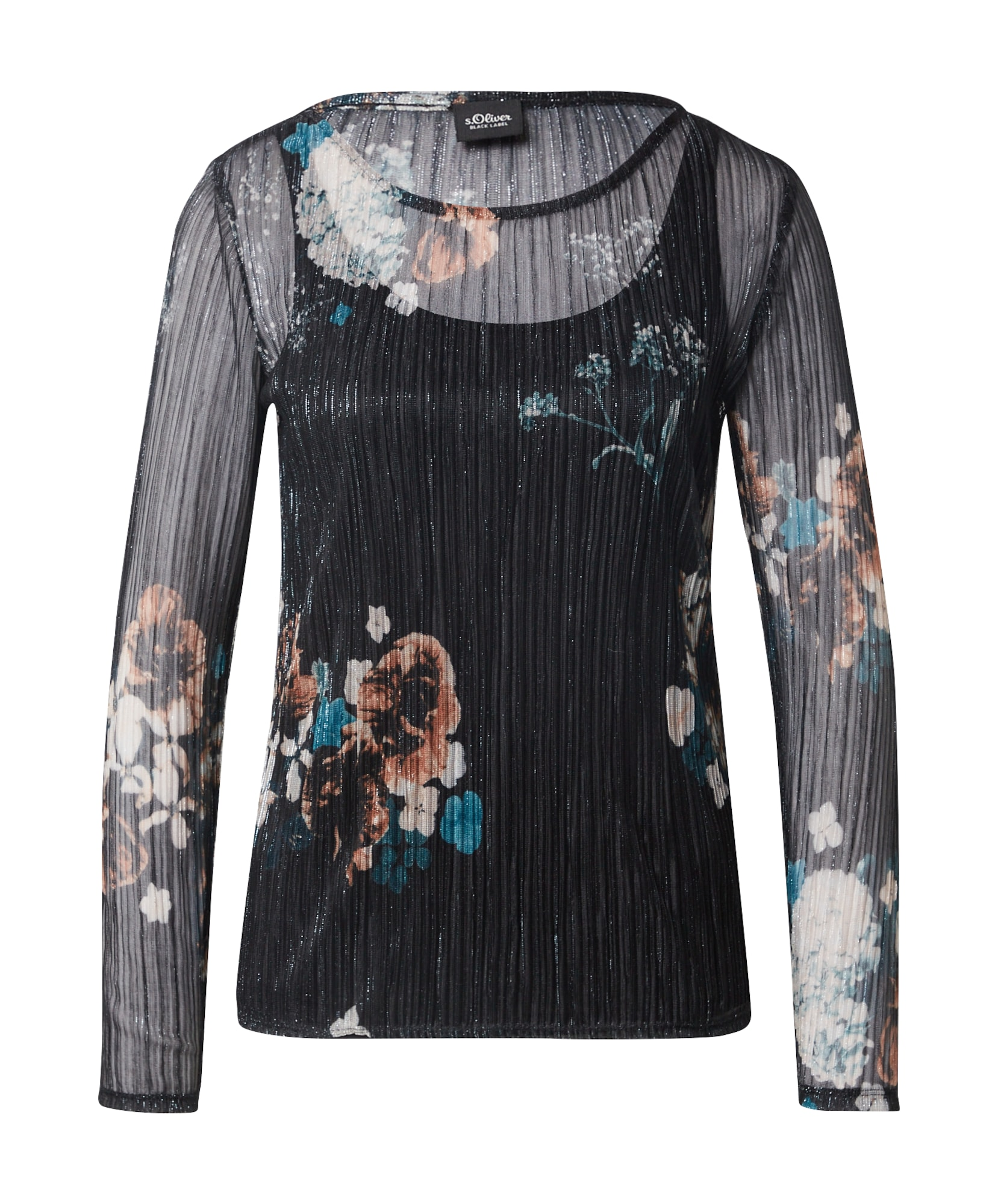 s.Oliver BLACK LABEL Marškinėliai juoda / mišrios spalvos