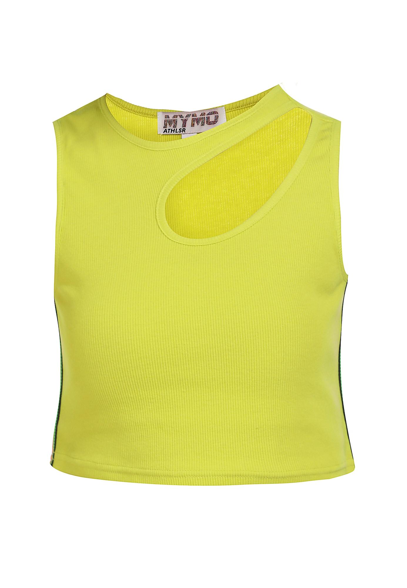 myMo ATHLSR Sportiniai marškinėliai be rankovių neoninė geltona / neoninė oranžinė / juoda