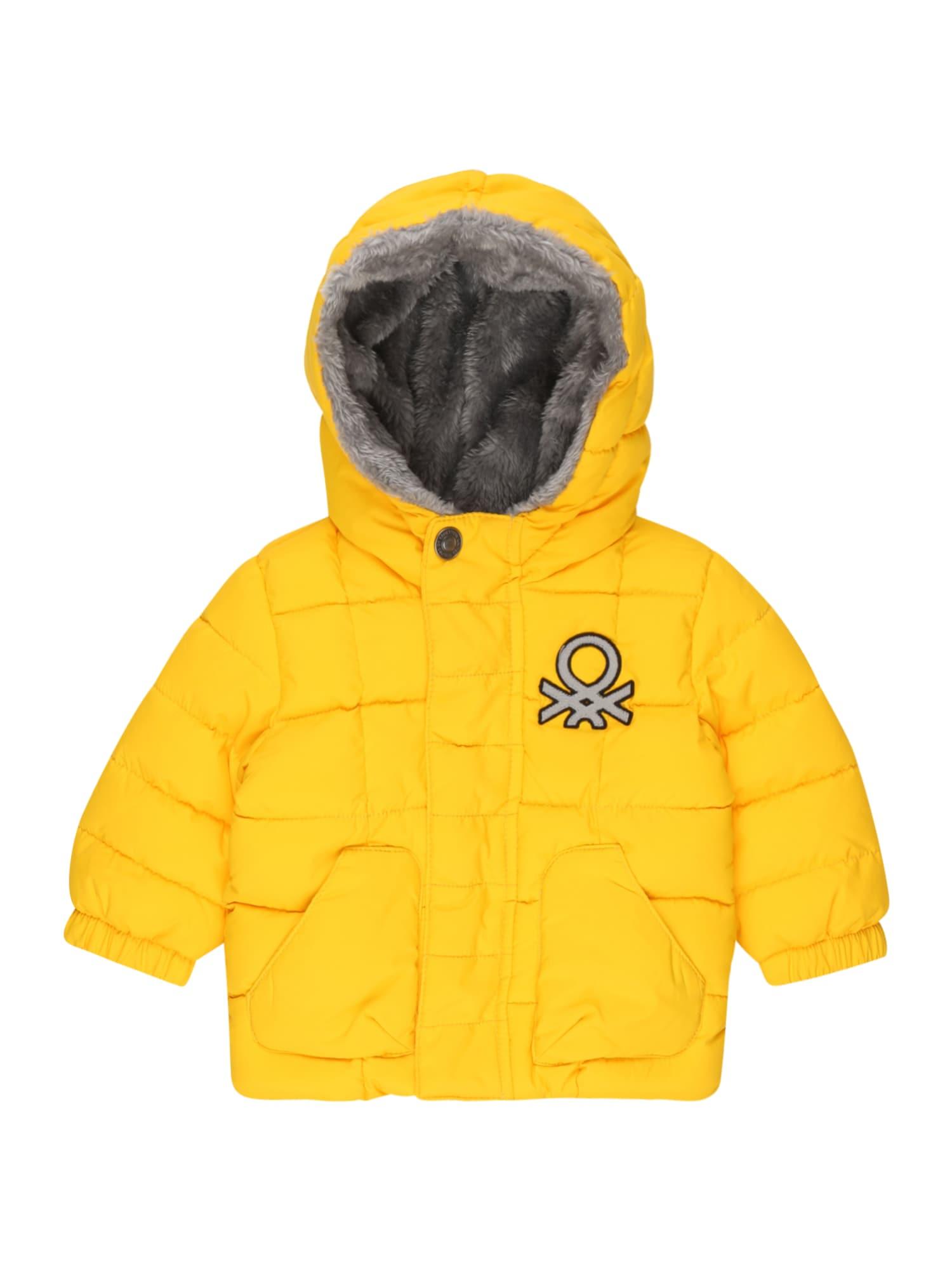 UNITED COLORS OF BENETTON Žieminė striukė neoninė geltona / pilka / juoda