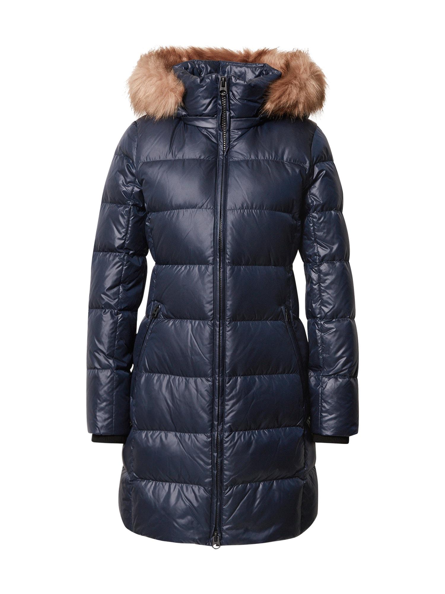 Calvin Klein Žieminis paltas tamsiai mėlyna / smėlio
