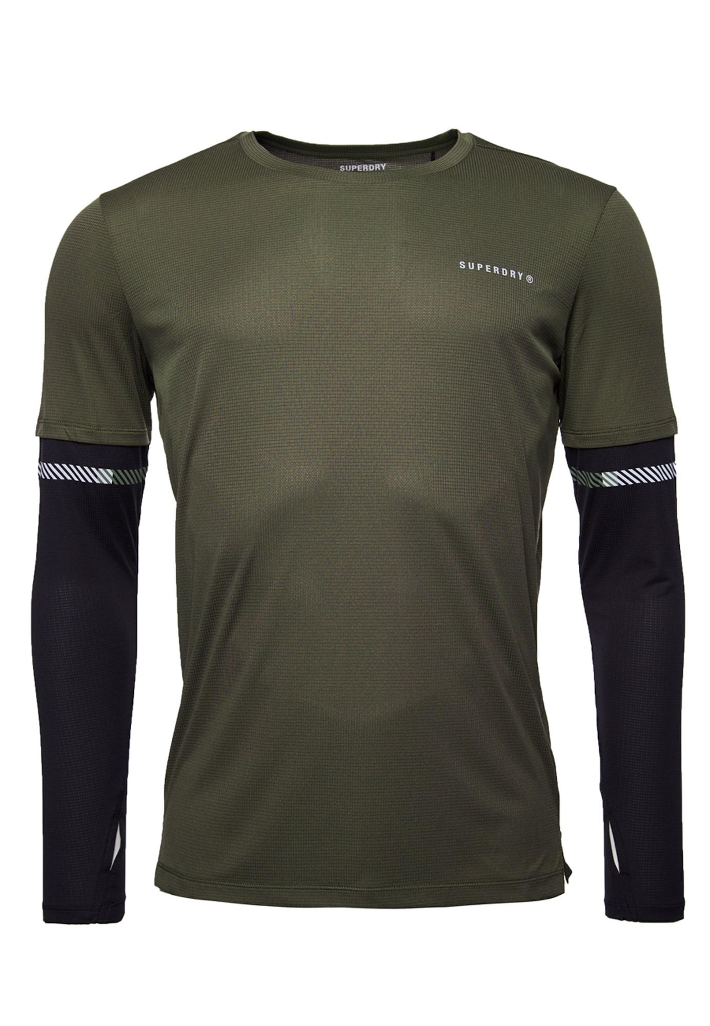 Superdry Sportiniai marškinėliai rusvai žalia / juoda