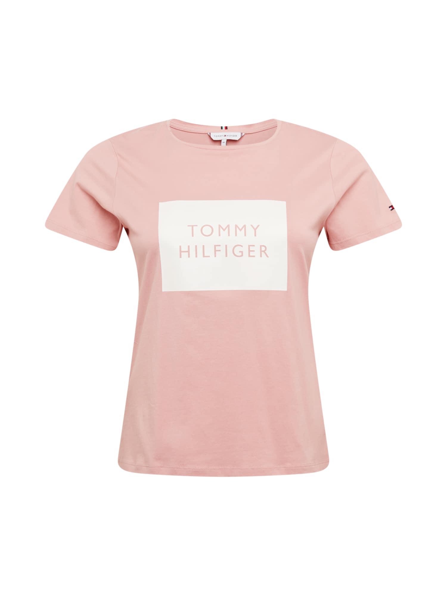 Tommy Hilfiger Curve Marškinėliai ryškiai rožinė spalva / balta