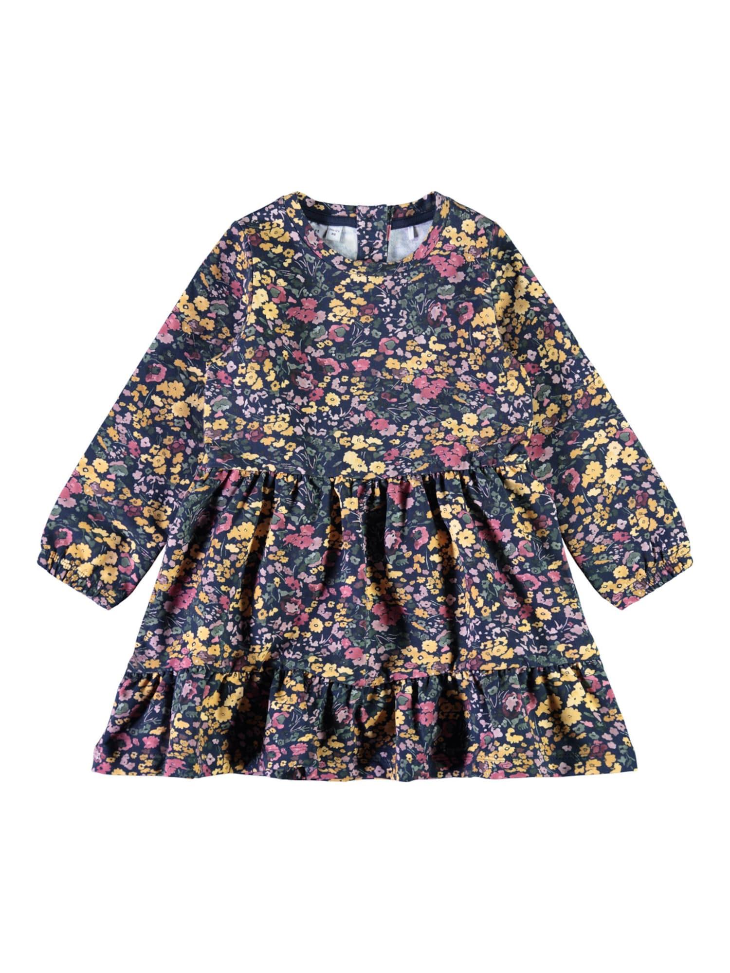 NAME IT Suknelė 'Bada' tamsiai mėlyna / rožinė / pastelinė violetinė / geltona / alyvuogių spalva