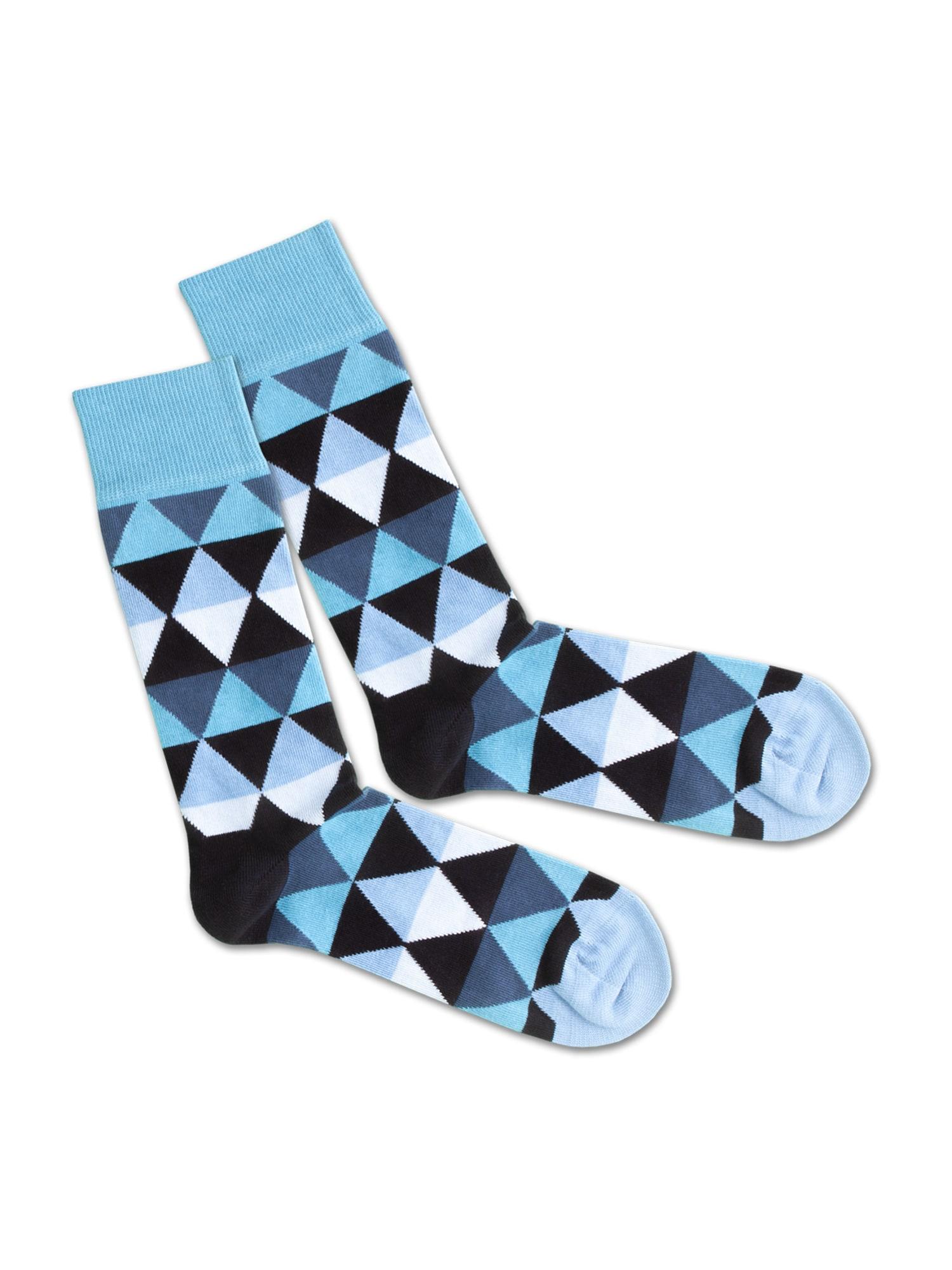 DillySocks Ponožky 'SS20-20 Triangle Sea'  bílá / modrá / černá