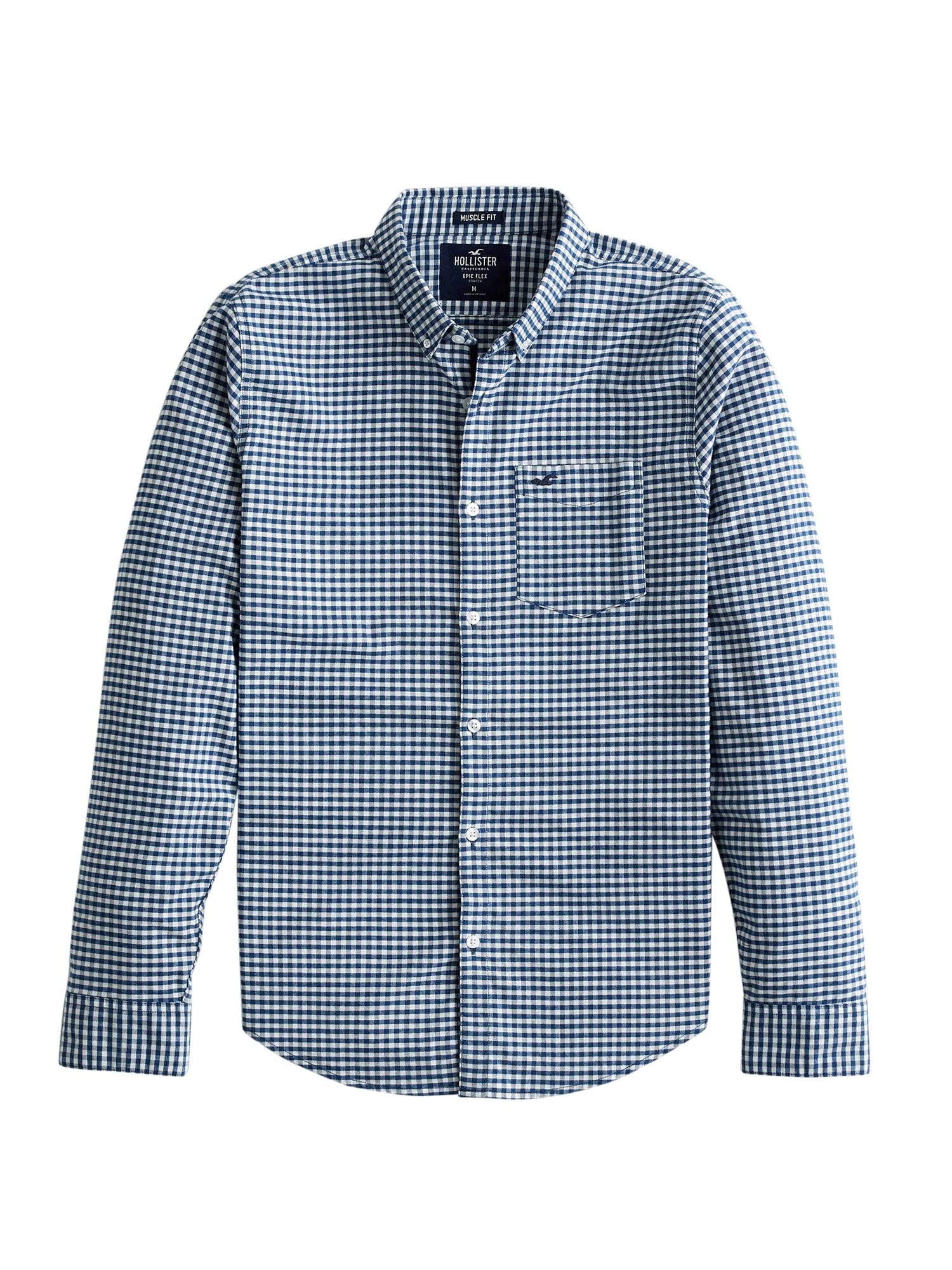 HOLLISTER Marškiniai tamsiai mėlyna / natūrali balta