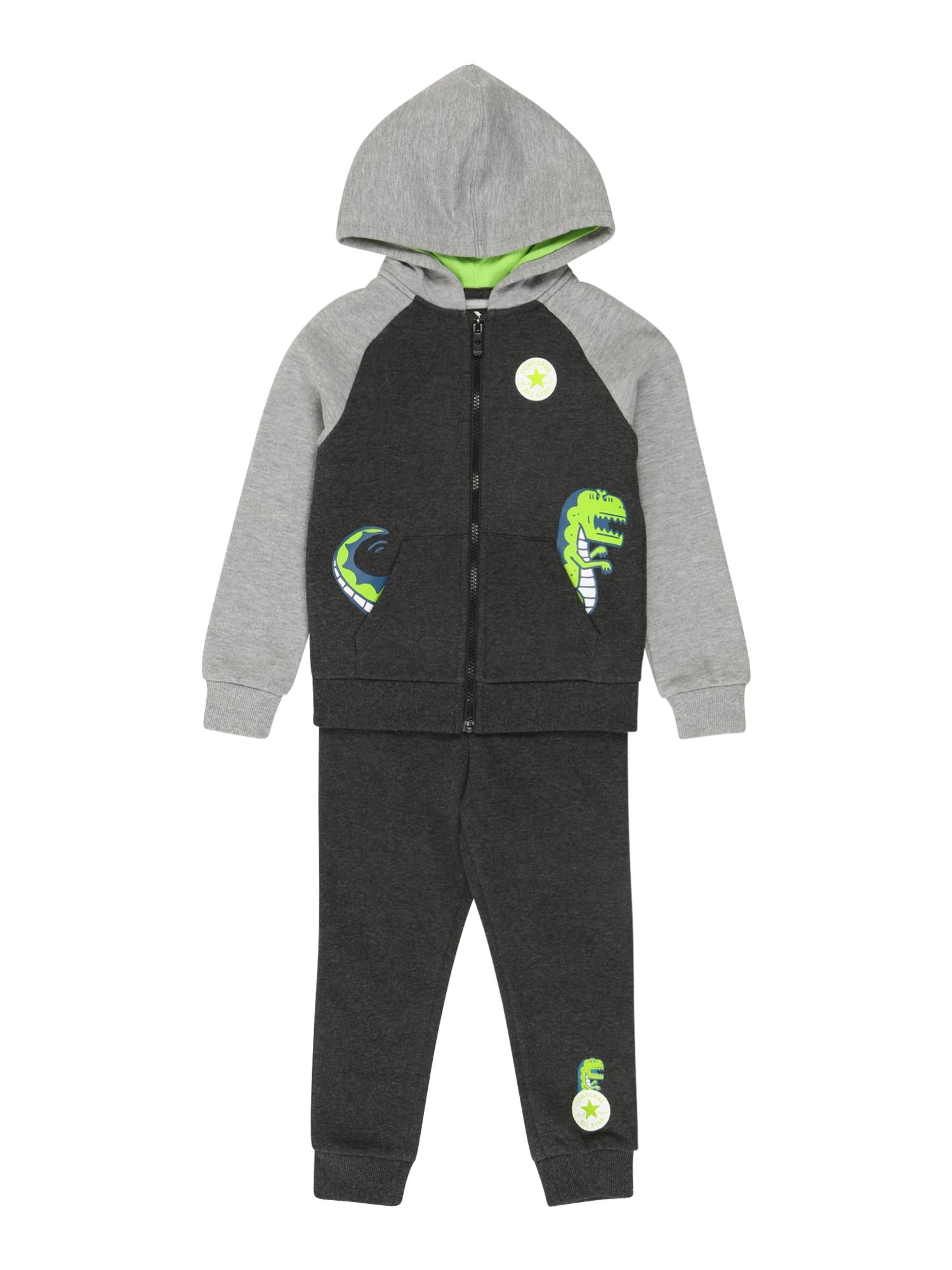 CONVERSE Laisvalaikio kostiumas 'Dino' margai juoda / margai pilka / balta / žaliosios citrinos spalva