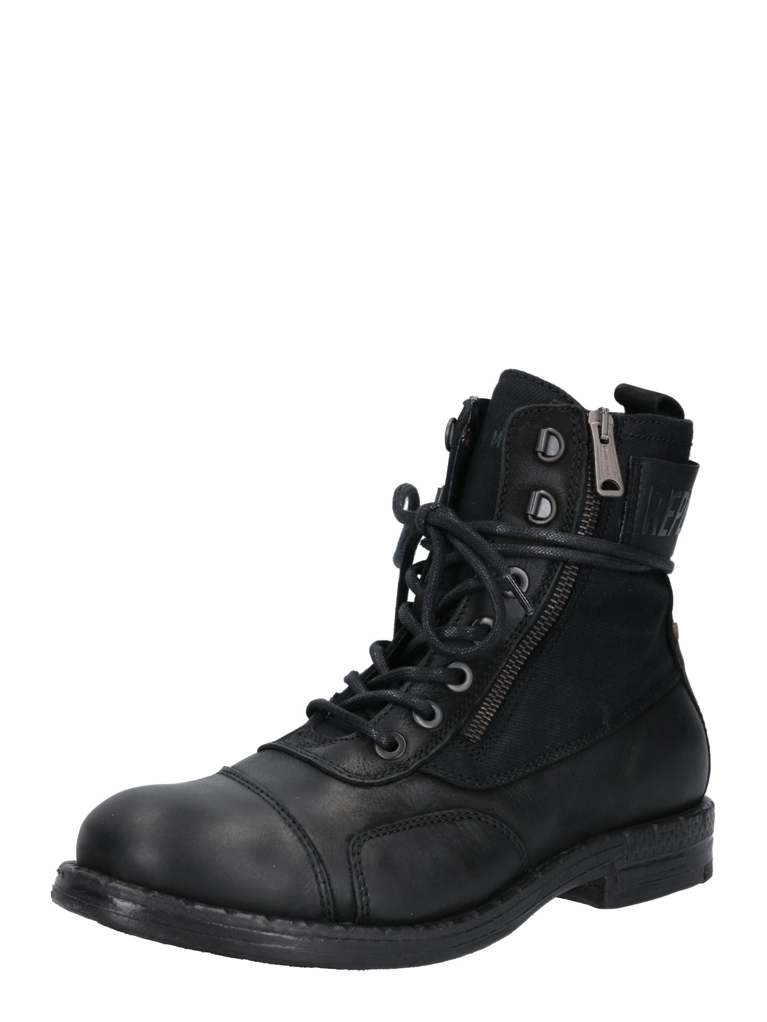 REPLAY Auliniai batai su raišteliais juoda