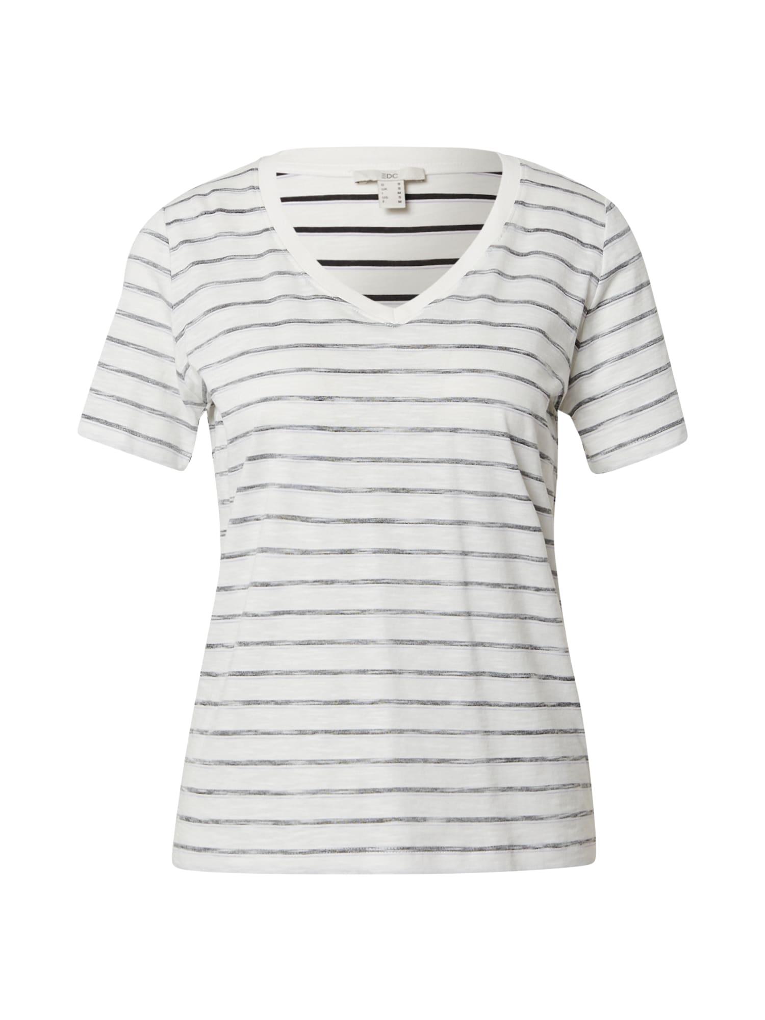 EDC BY ESPRIT Marškinėliai balkšva / margai juoda