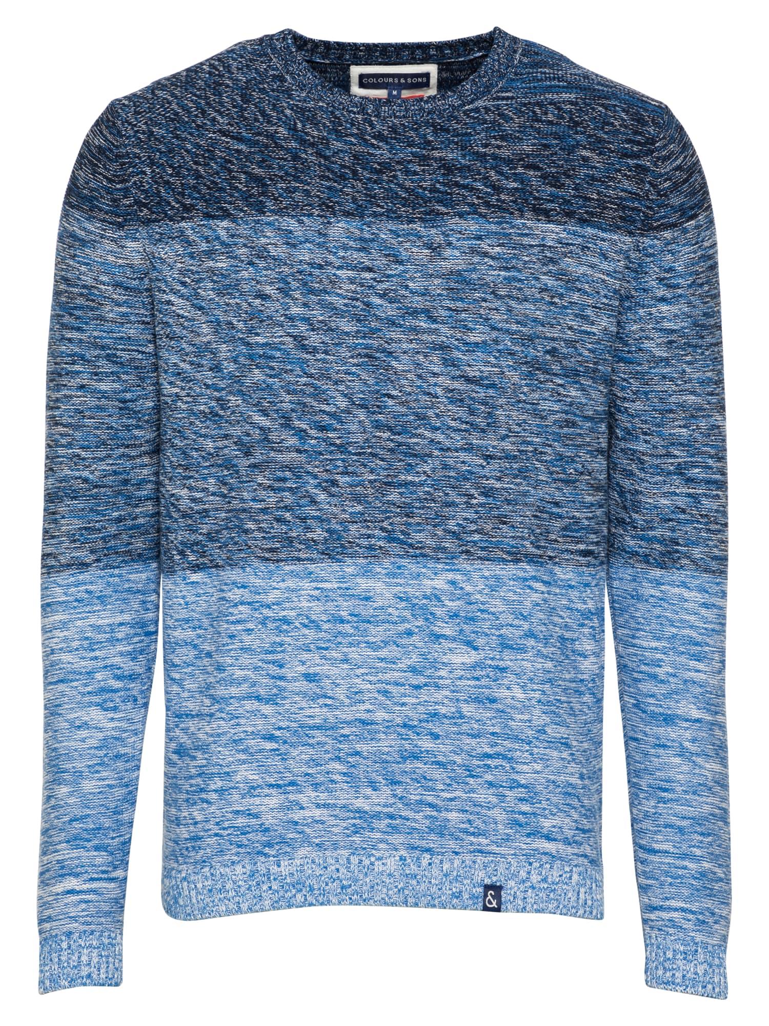 COLOURS & SONS Megztinis šviesiai mėlyna / mėlyna / tamsiai mėlyna / balta