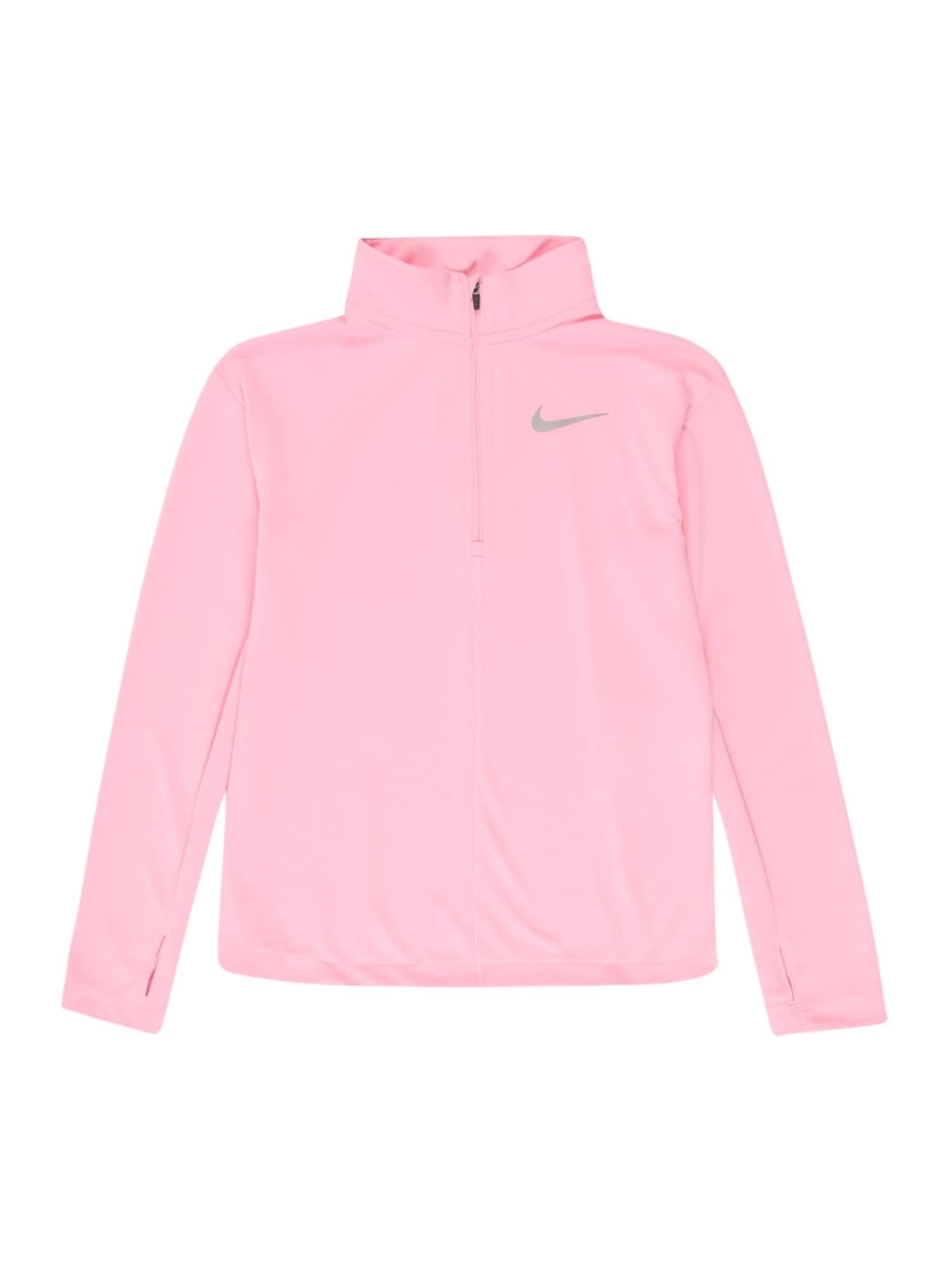 NIKE Funkční tričko  světle růžová / stříbrně šedá