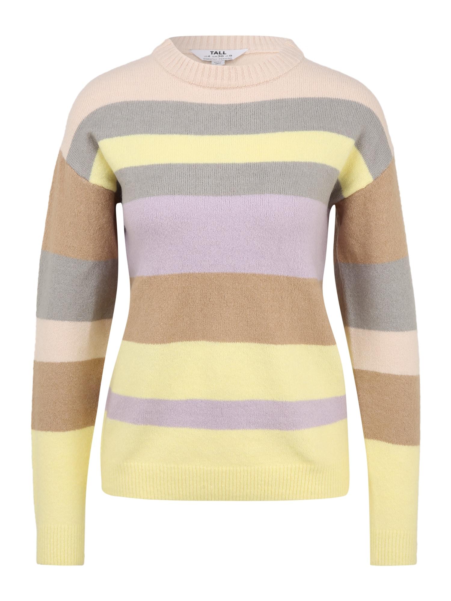 Dorothy Perkins (Tall) Megztinis šviesiai violetinė / pilka / šviesiai geltona / ruda / persikų spalva