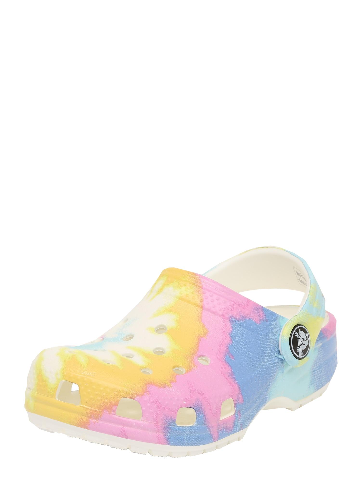 Crocs Atviri batai balta / geltona / rožių spalva / mėlyna