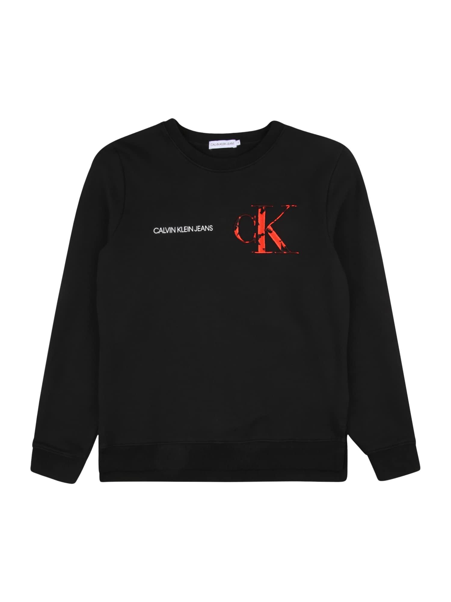 Calvin Klein Jeans Megztinis be užsegimo juoda / šviesiai raudona / balta