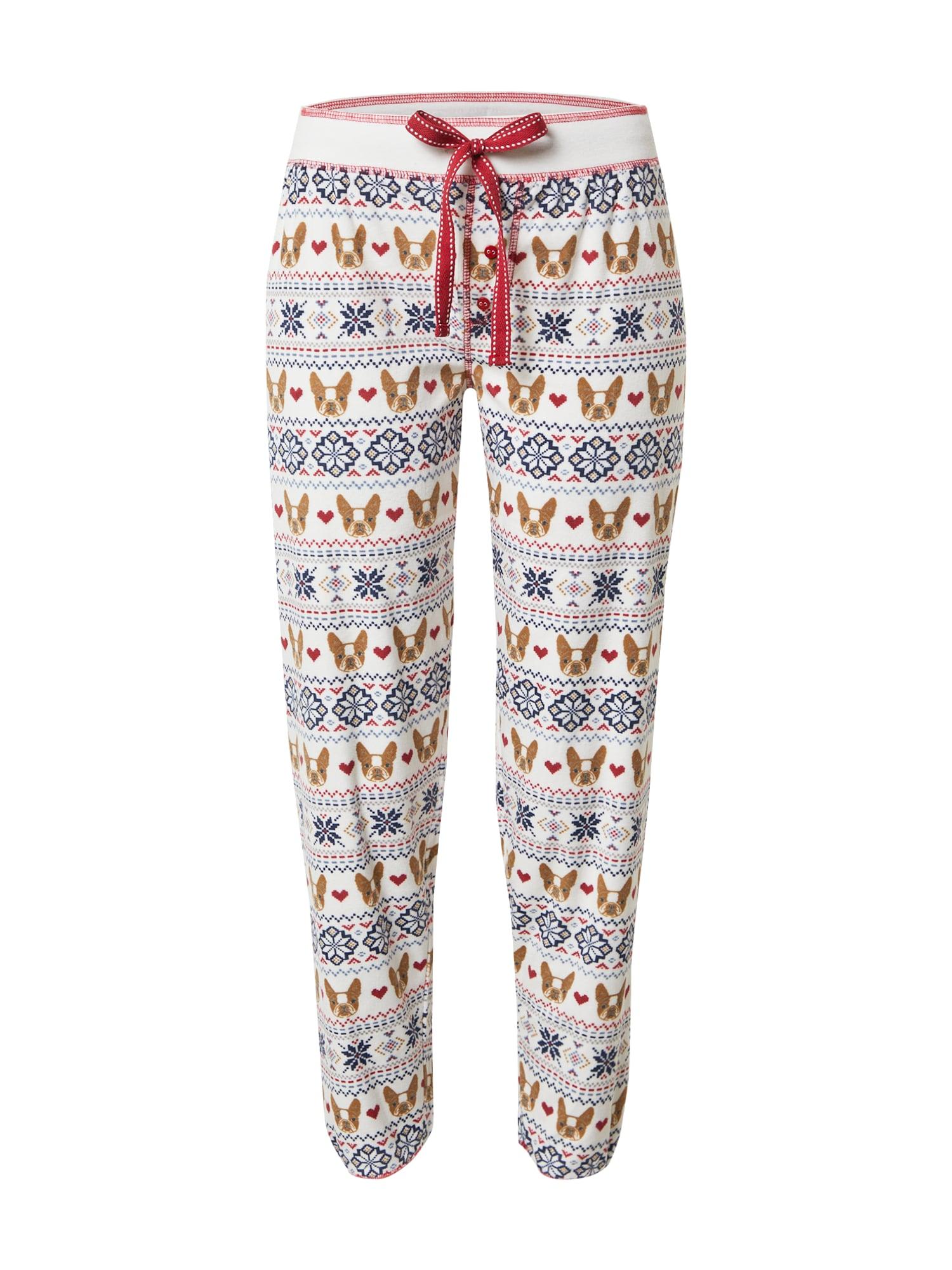 PJ Salvage Pižaminės kelnės balkšva / ruda / tamsiai mėlyna / tamsiai raudona