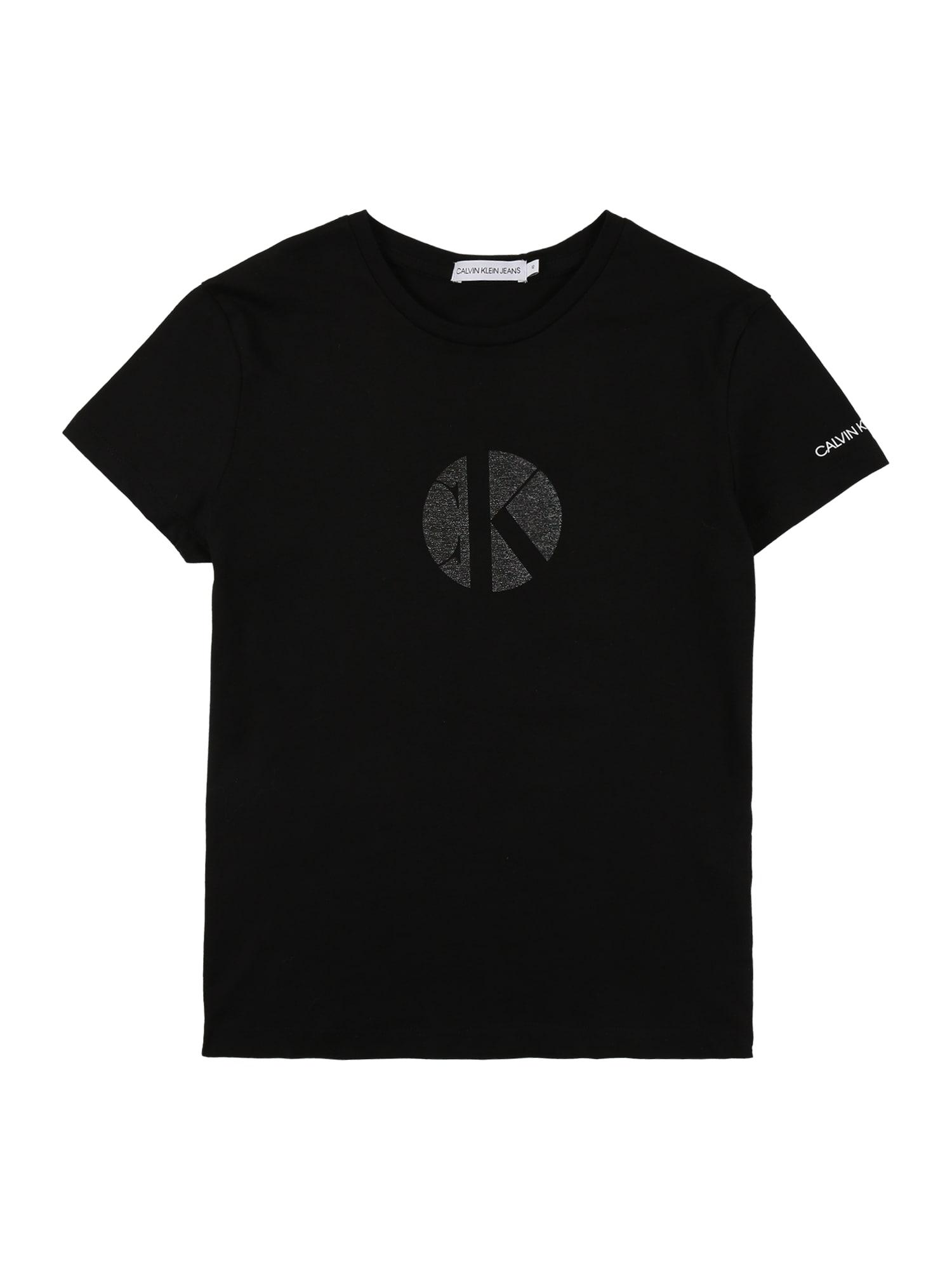 Calvin Klein Jeans Marškinėliai margai žalia / juoda