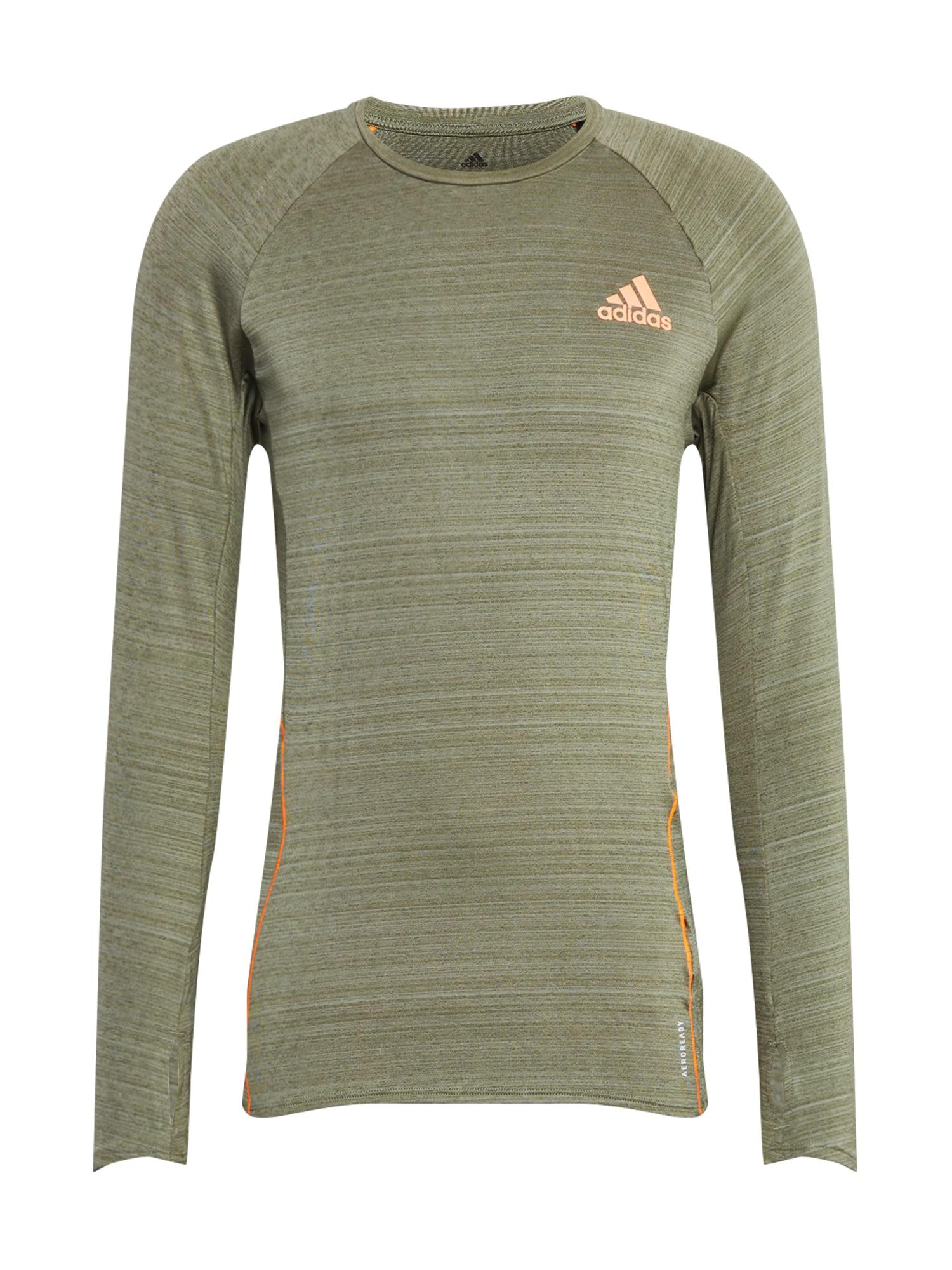 ADIDAS PERFORMANCE Funkční tričko  khaki / oranžová