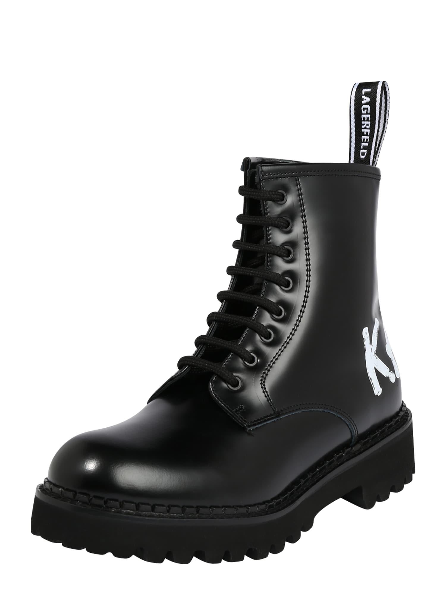 Karl Lagerfeld Šnurovacie členkové čižmy 'Troupe'  čierna / biela