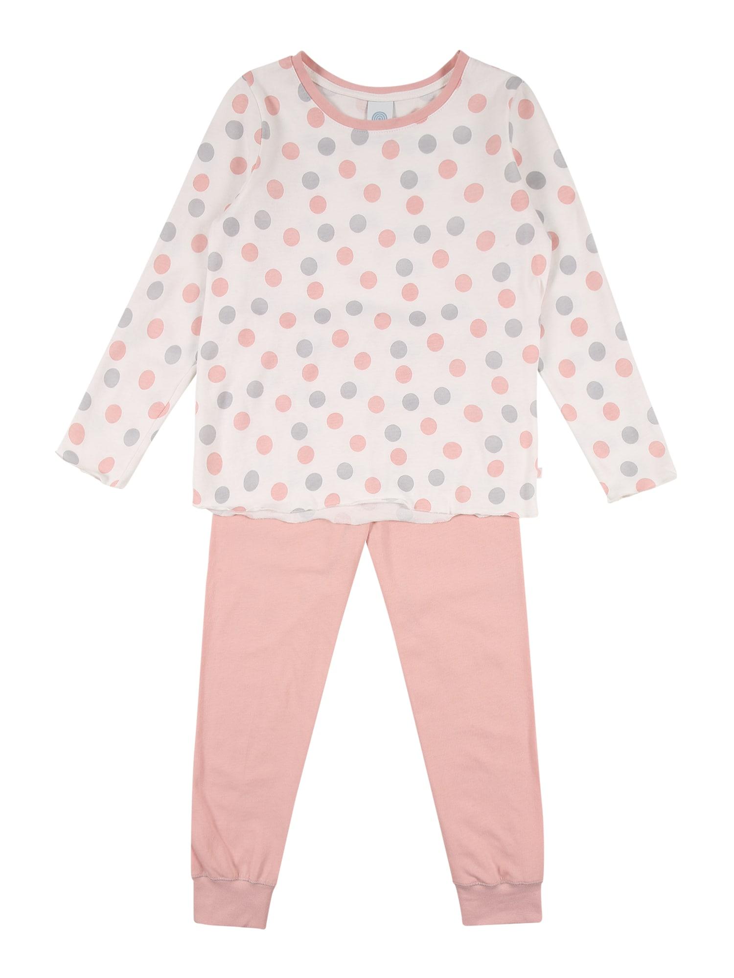 SANETTA Miego kostiumas vilnos balta / ryškiai rožinė spalva / pilka