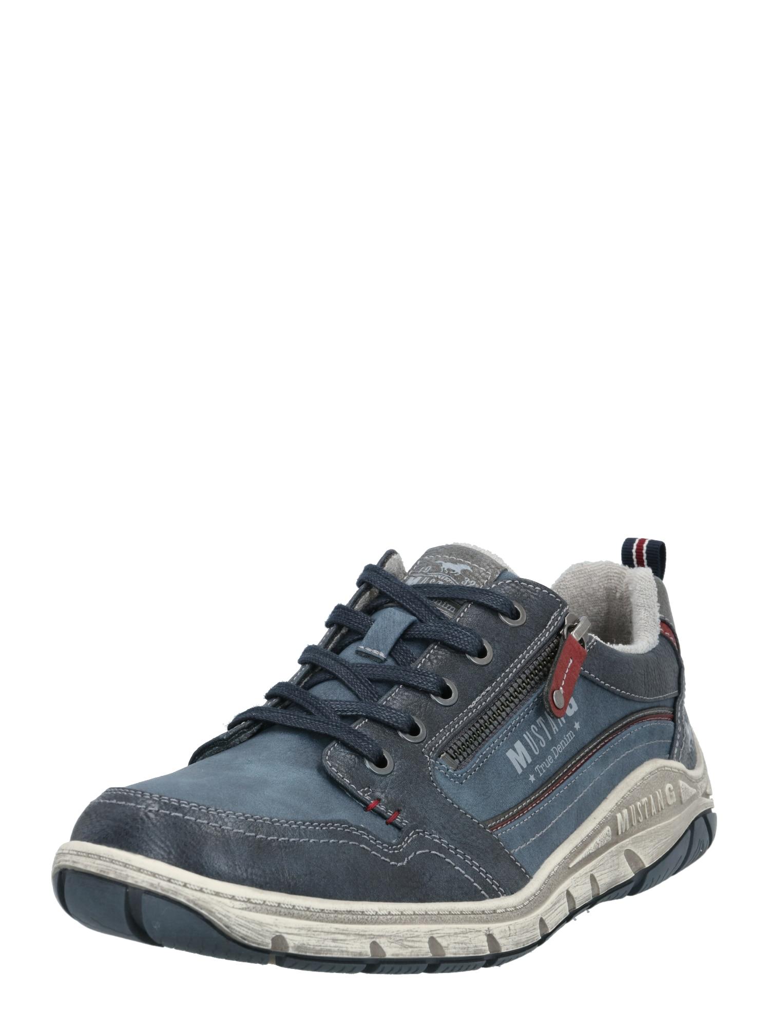 MUSTANG Sportovní šněrovací boty  chladná modrá / námořnická modř / světle šedá / pastelově červená
